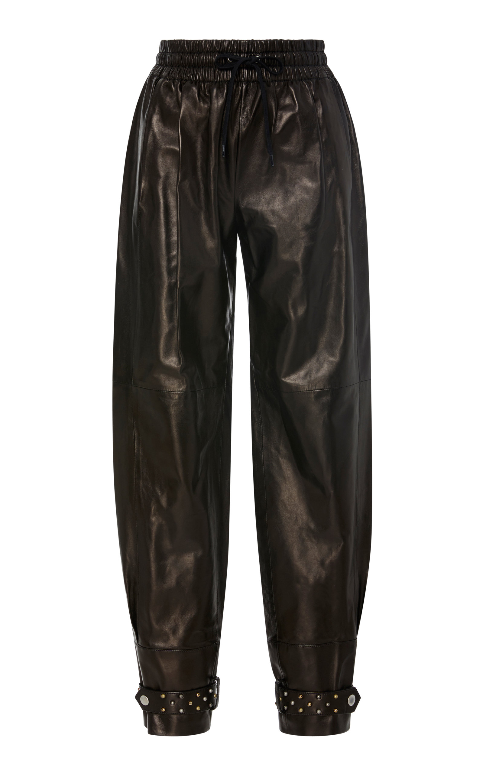 GIVENCHY PEARL-EMBELLISHED LEATHER TAPERED PANTS