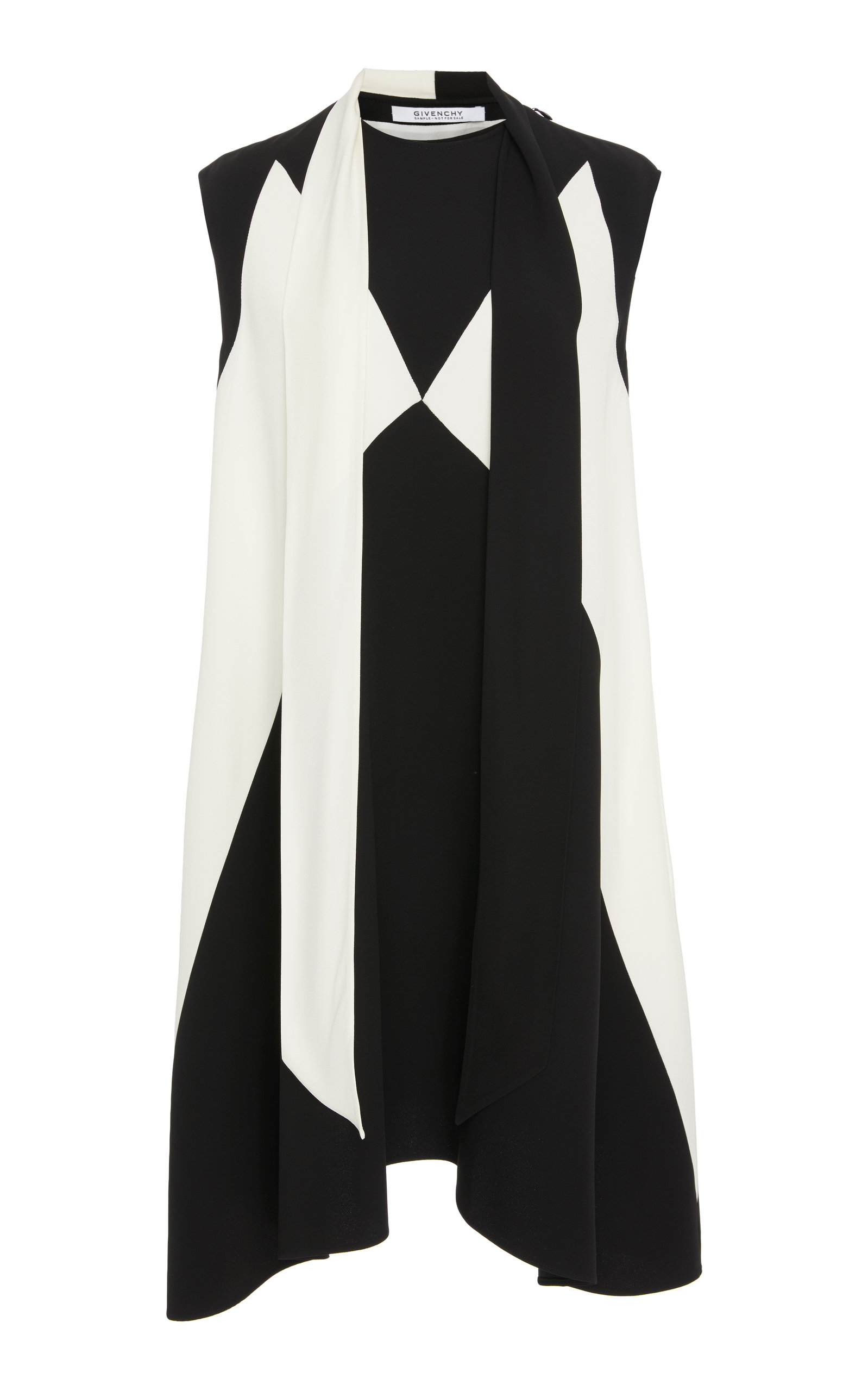 Sleeveless Graphic-Print Short Dress W/ Scarf Detail, Black/White