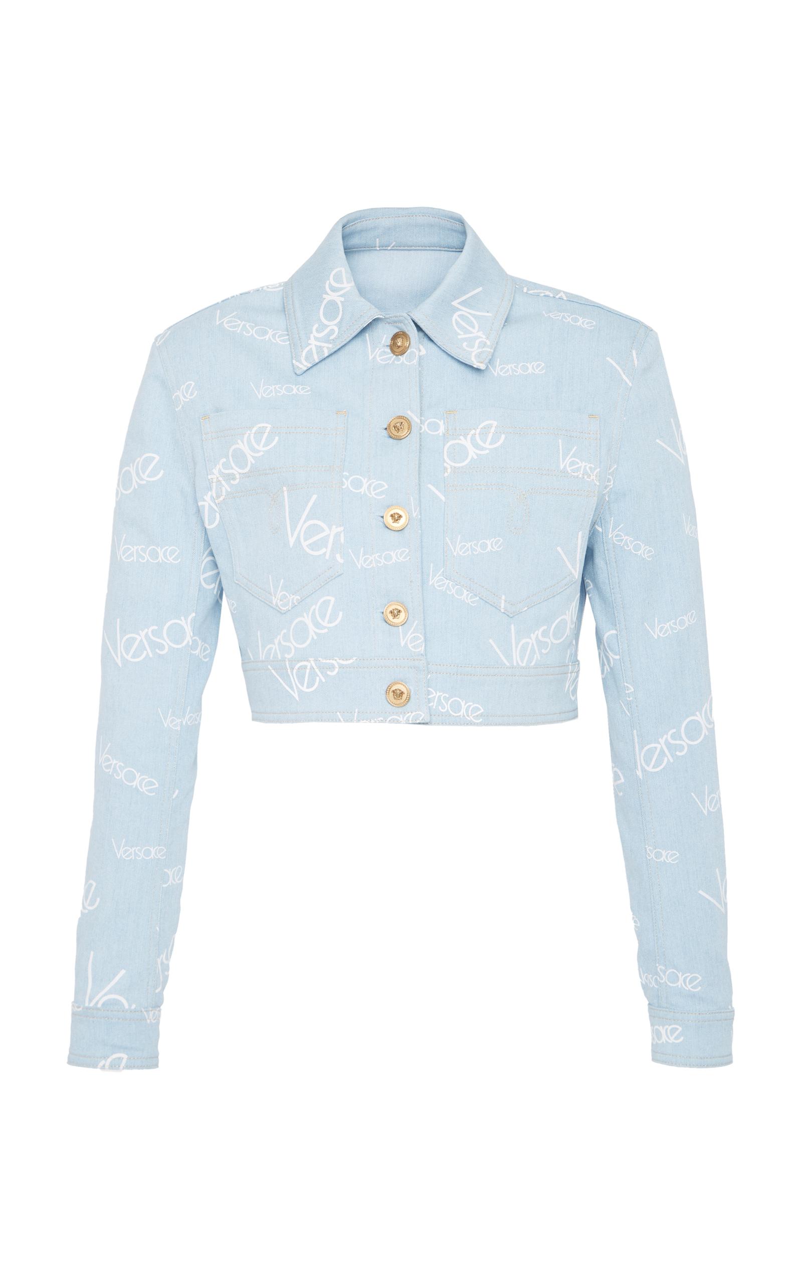 Button-Front Cropped Denim Jacket, Blue