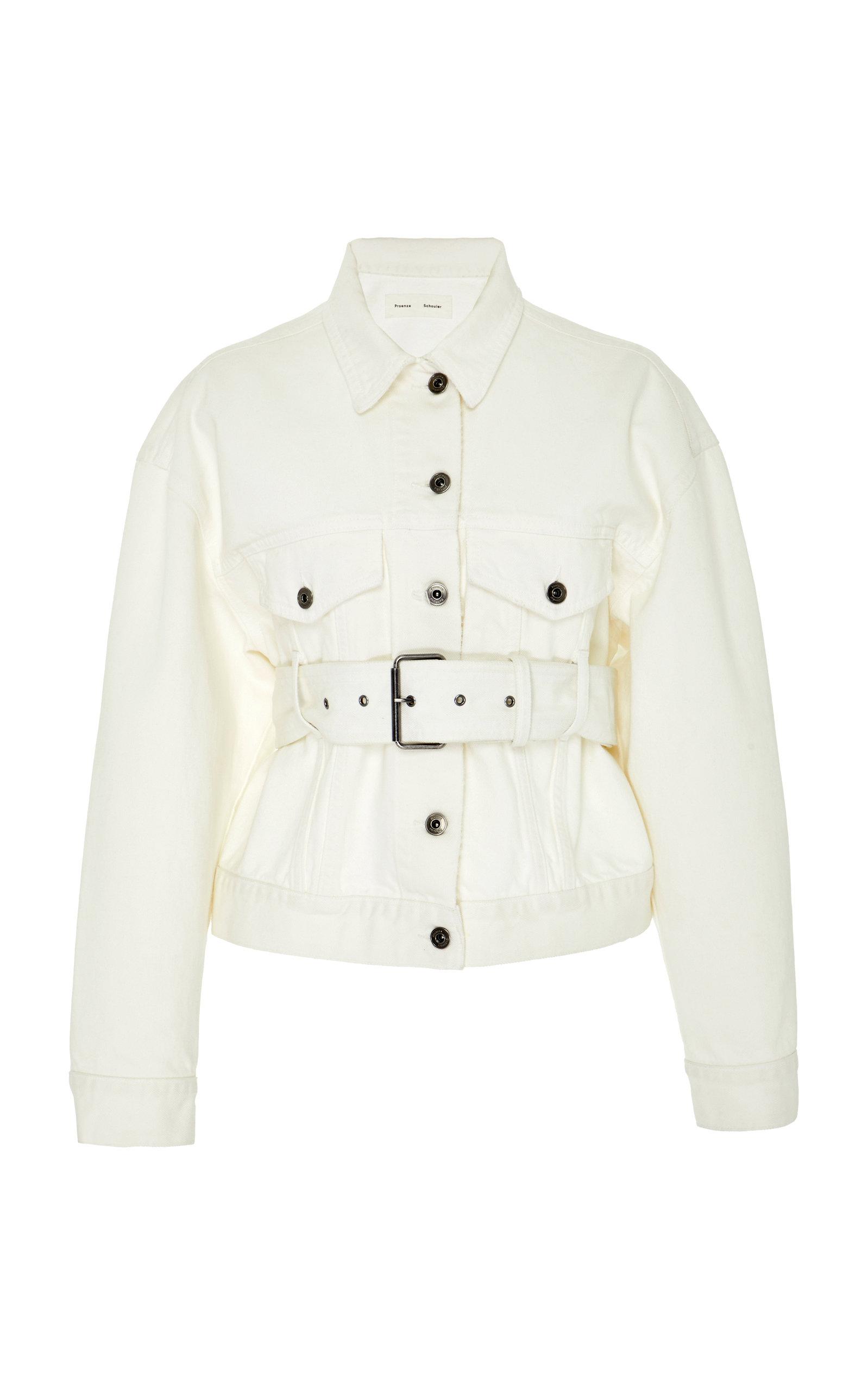 Proenza Schouler  Belted Denim Flap Pocket Jacket