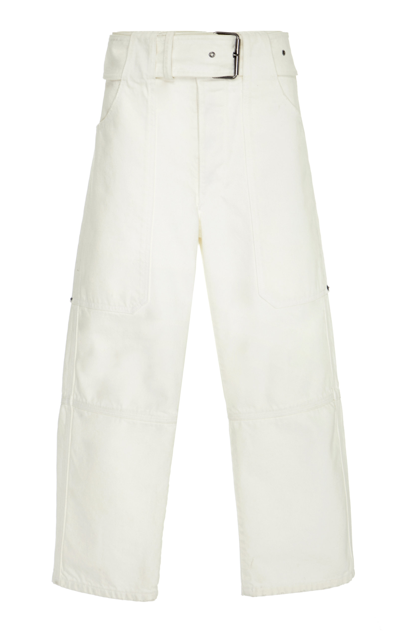 BELTED UTILITY DENIM STRAIGHT LEG CROPPED PANT