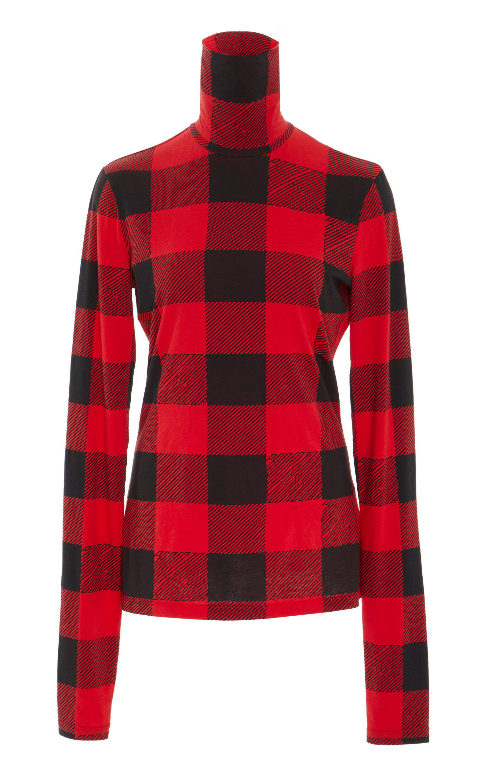 Pswl Checked Stretch-Cotton Jersey Turtleneck Top, Plaid