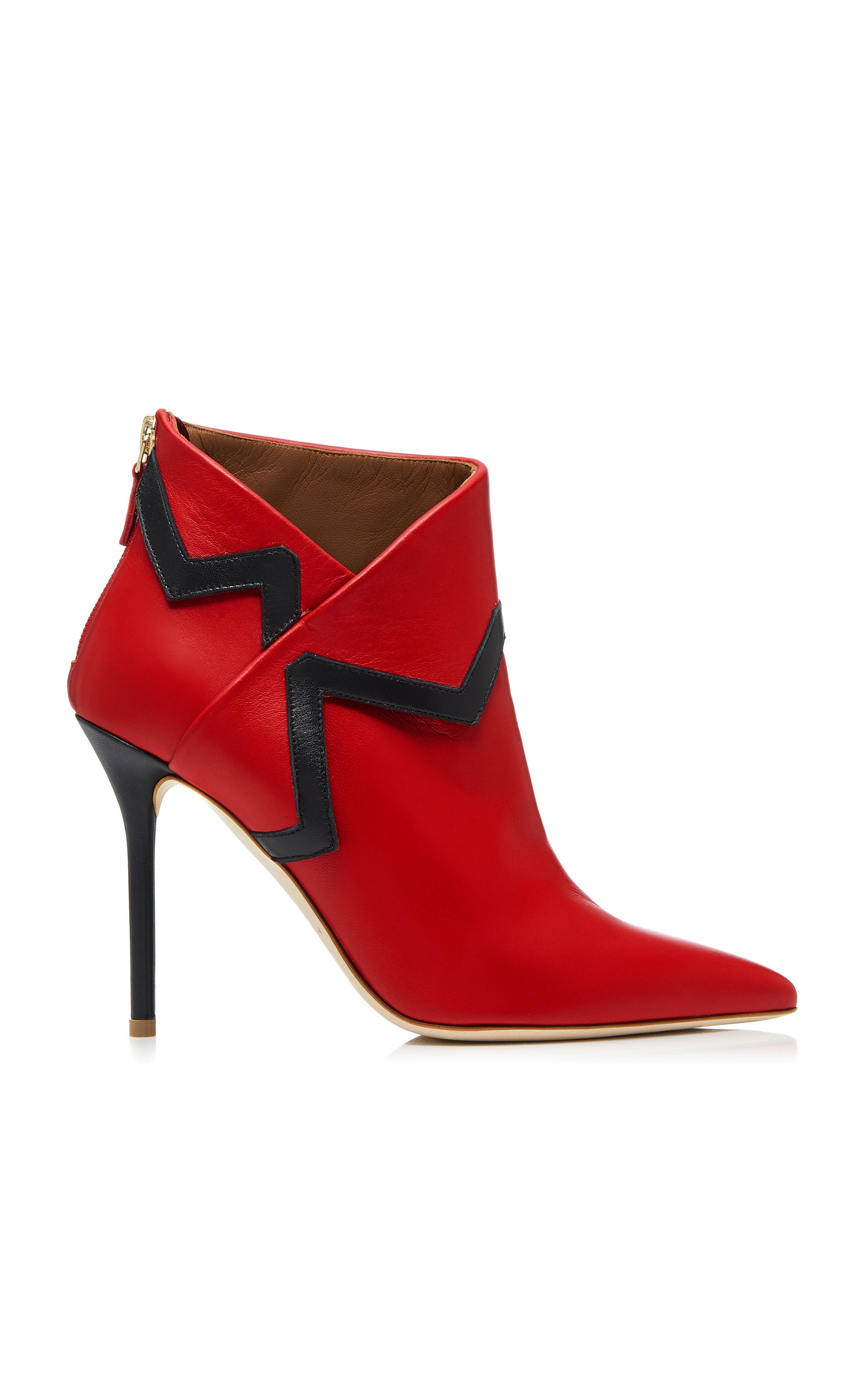 X Emanuel Ungaro Amelie Two-Tone Leather Ankle Boots, Red