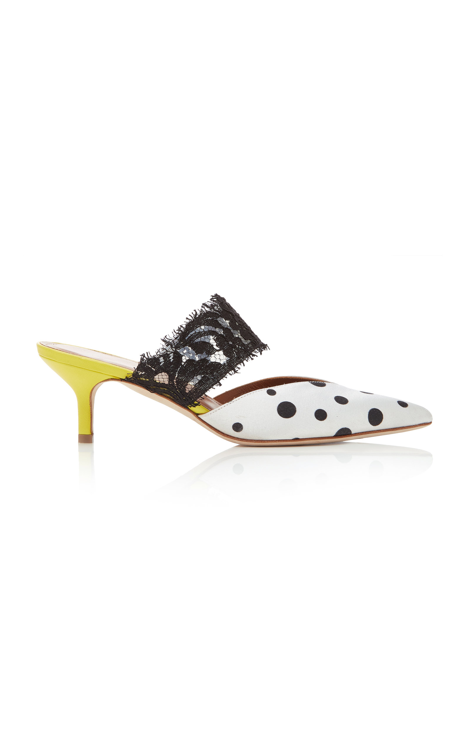 MALONE SOULIERS X EMANUEL UNGARO Maisie Polka-Dot Satin And Lace Mules in Black/White