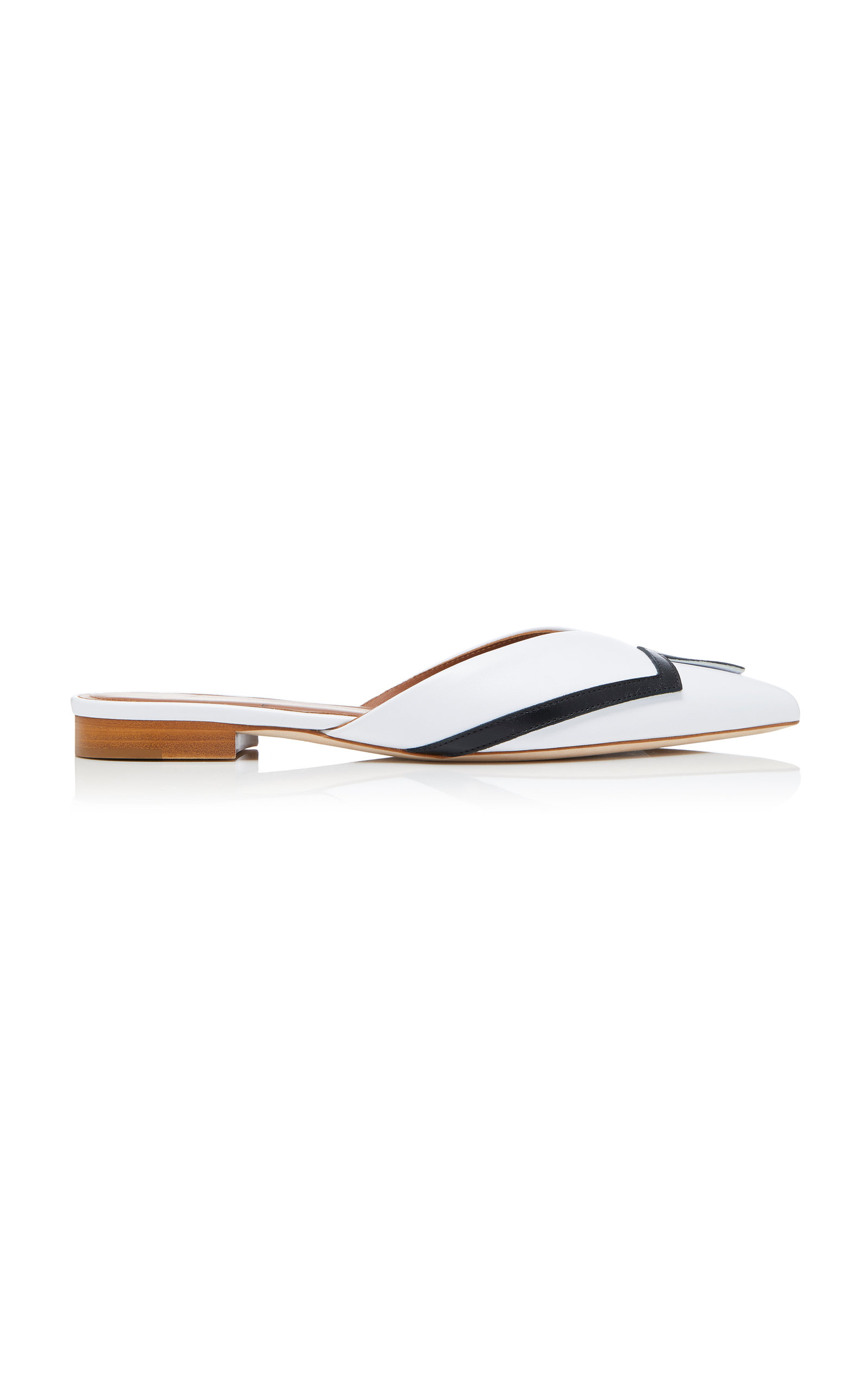 MALONE SOULIERS X EMANUEL UNGARO Amelie Leather Point-Toe Flats in White