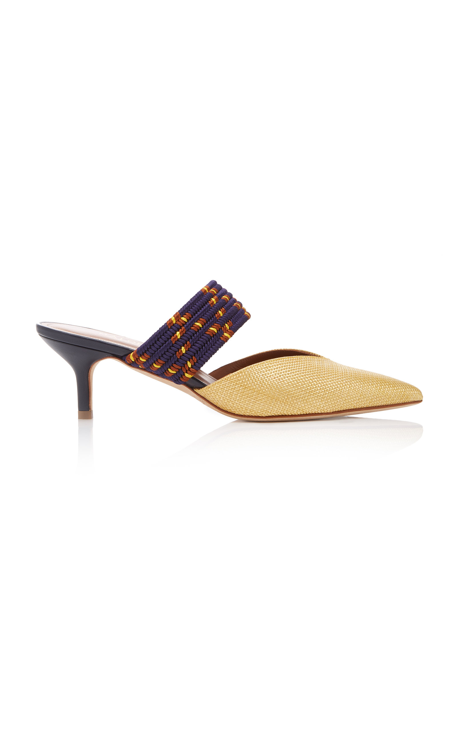 Maisie Cord-Trimmed Raffia And Leather Mules in Yellow