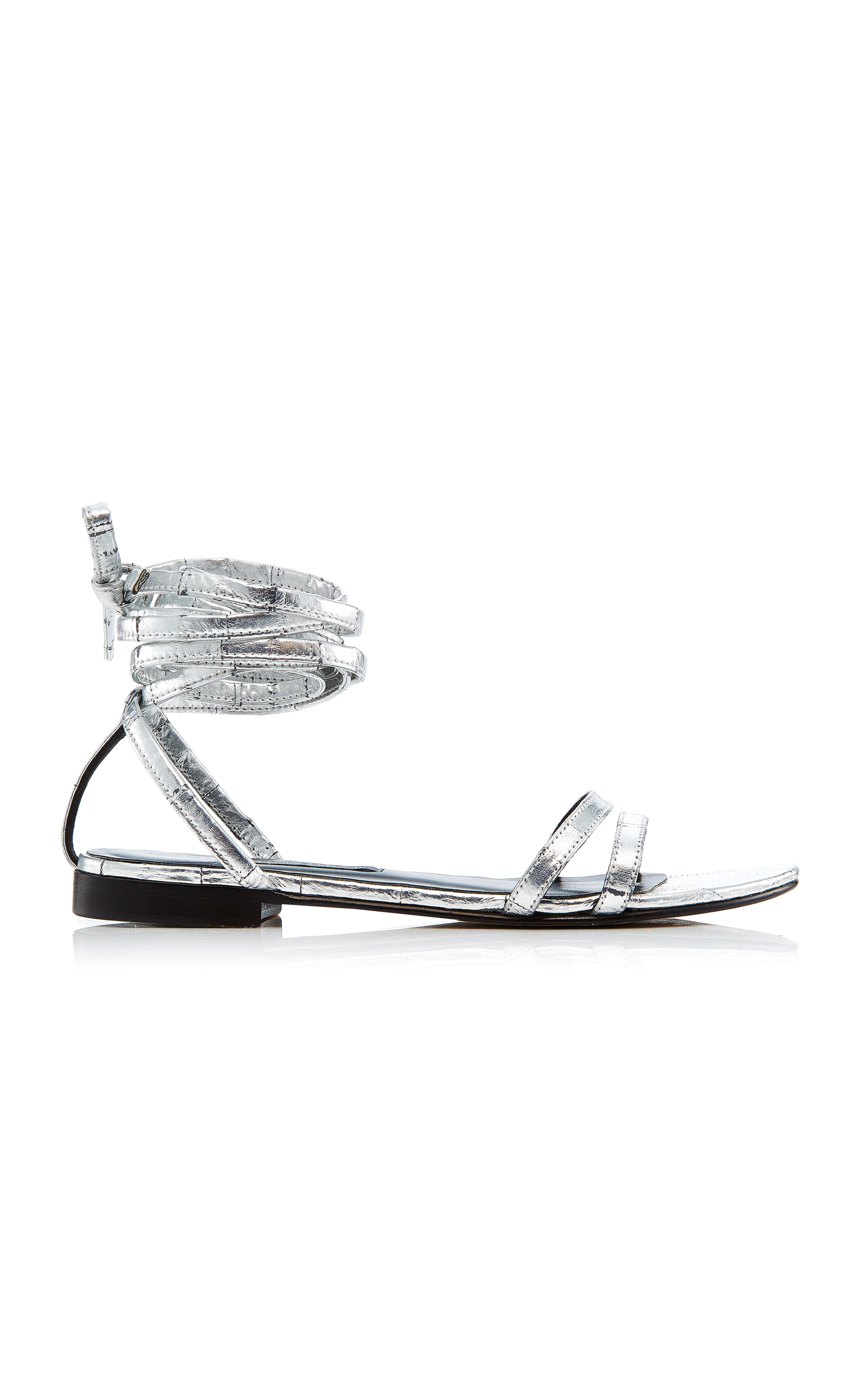 NEWBARK METALLIC SILVER ROSA EEL LEATHER SANDALS