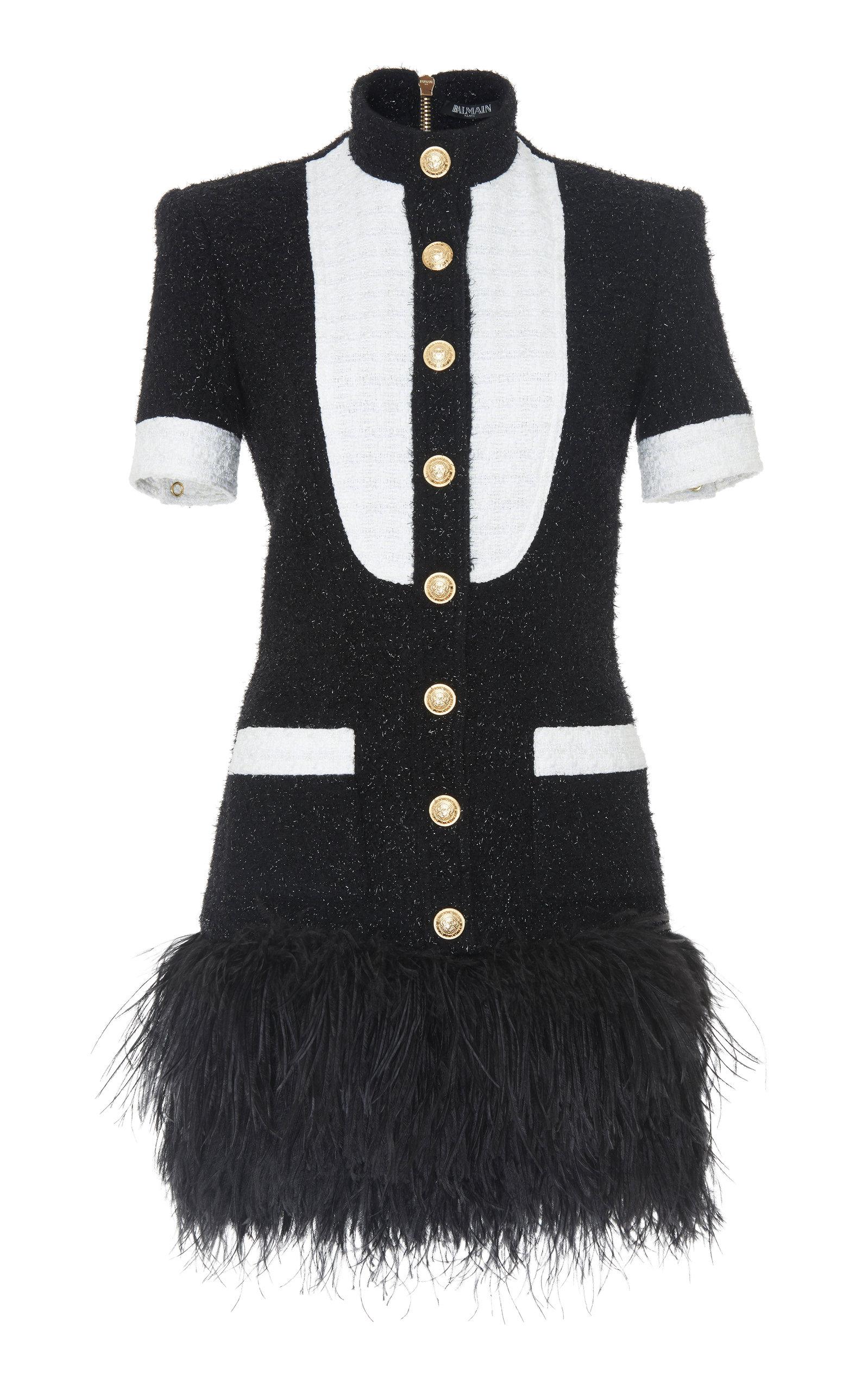 Feather-Trimmed Metallic Wool-Blend Tweed Mini Dress, Black/White