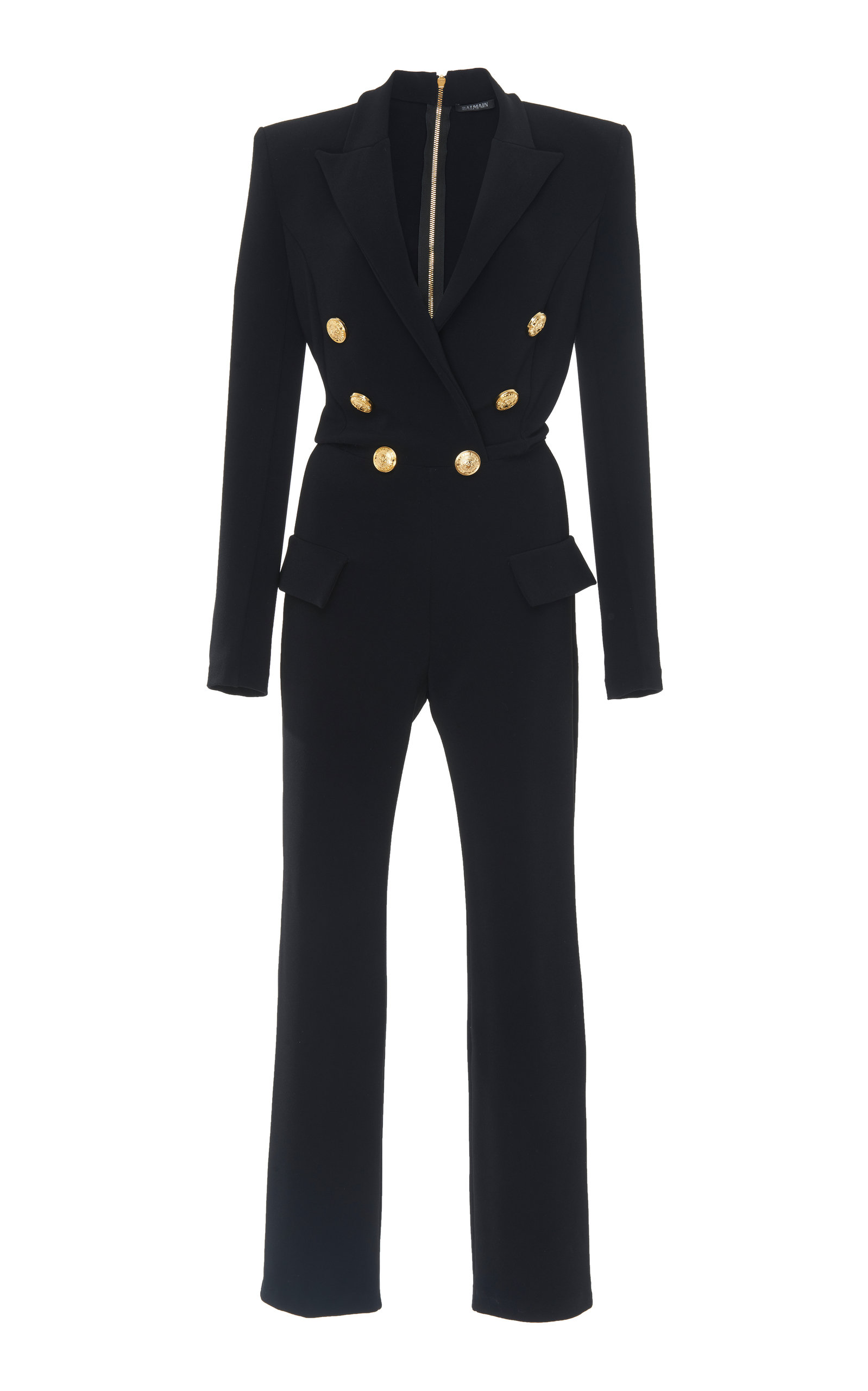 BLACK DOUBLE-BREASTED CADY JUMPSUIT