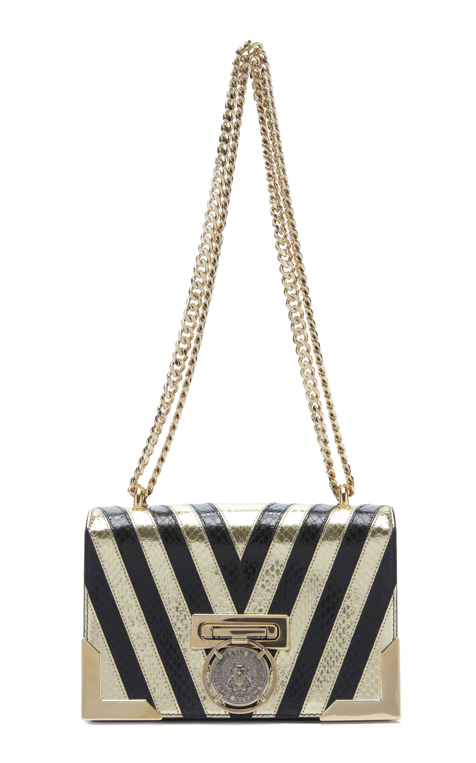 b6f9605b685e Striped Metallic Textured-Leather Shoulder Bag by