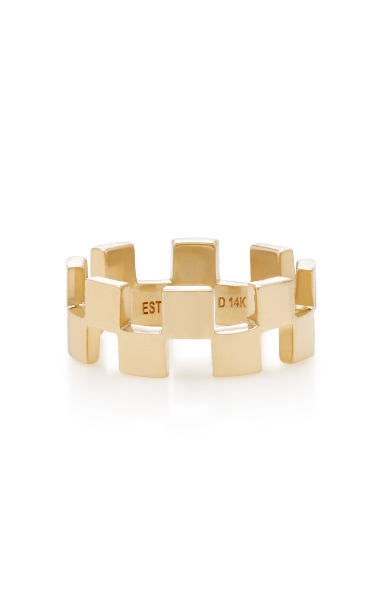 Checker Gallery 18K Gold Earrings Established 3t7p2