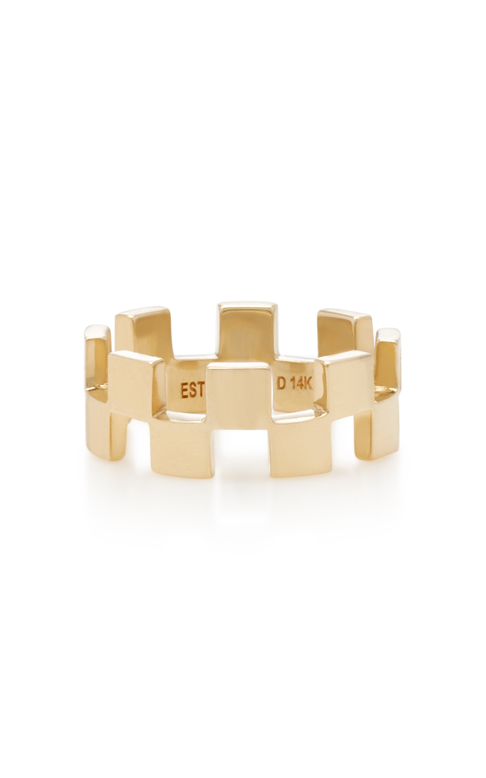 ESTABLISHED 18K GOLD CHECKER BAND RING