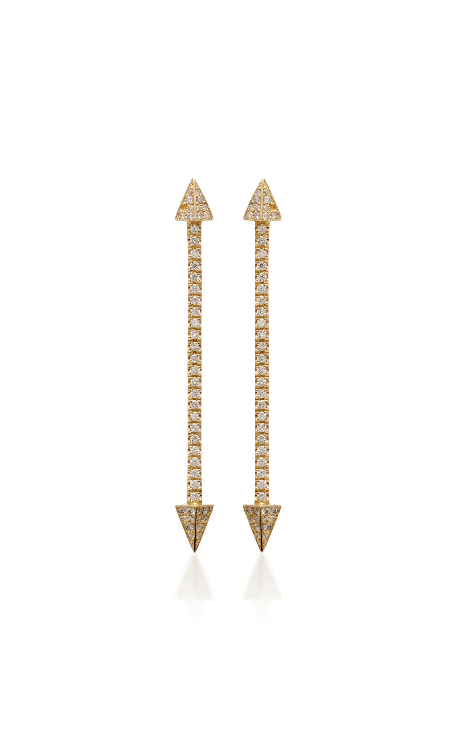 Flecha Larga Pendientes De Diamantes De 18 Quilates De Oro Establecieron YqYjNE