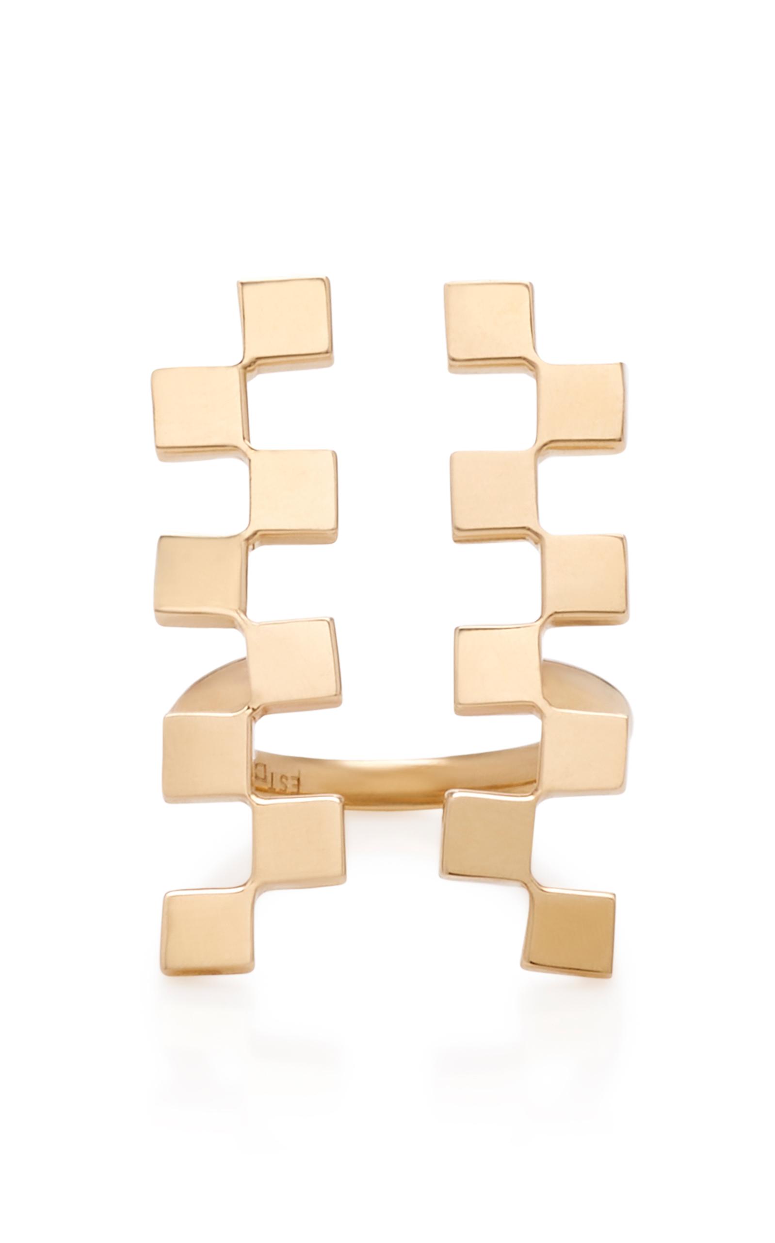 Long Checker 18K Gold Ring Established 9M1GeFbmT