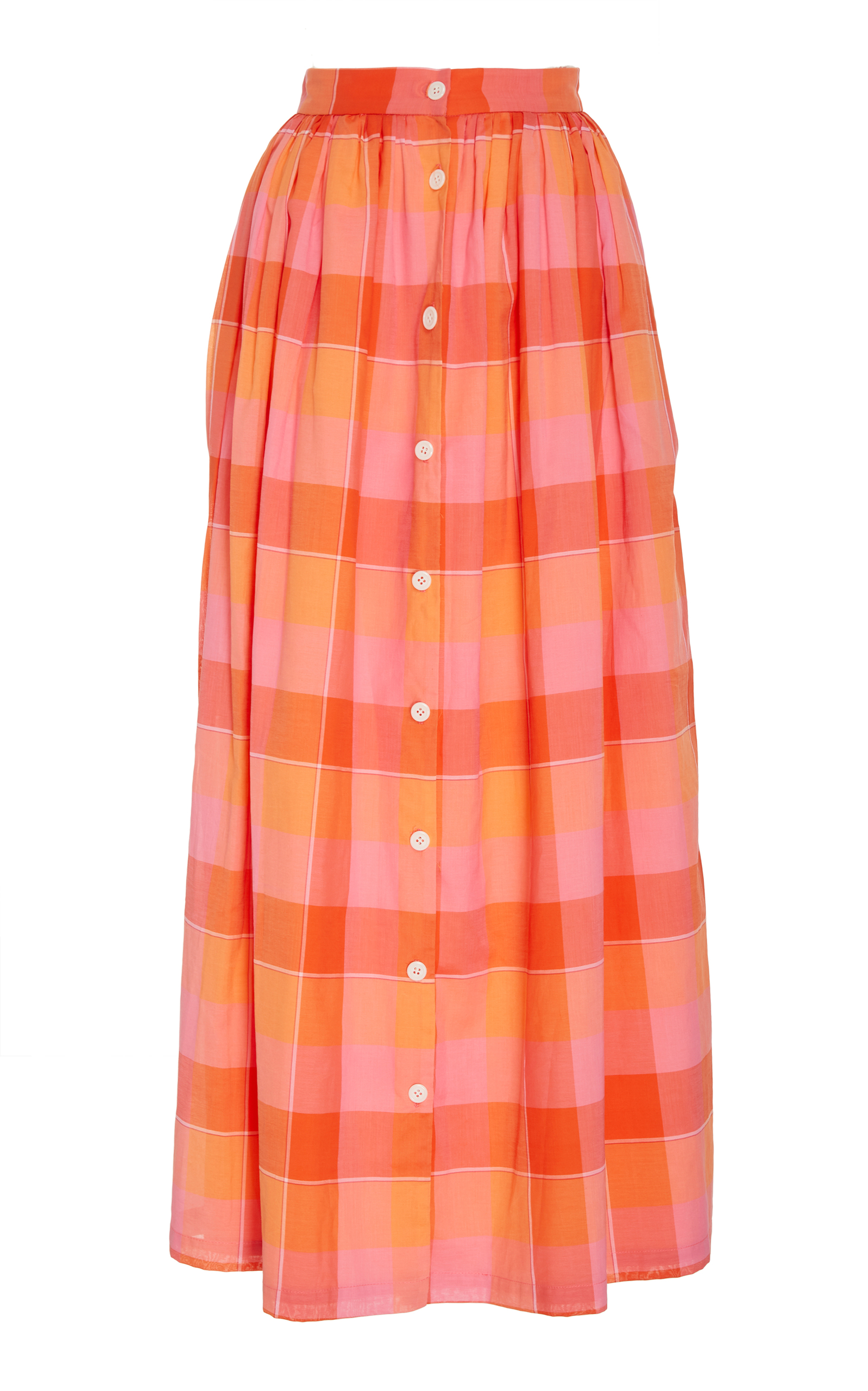 4d9c81c93 Button Front Plaid Skirt by MDS Stripes | Moda Operandi