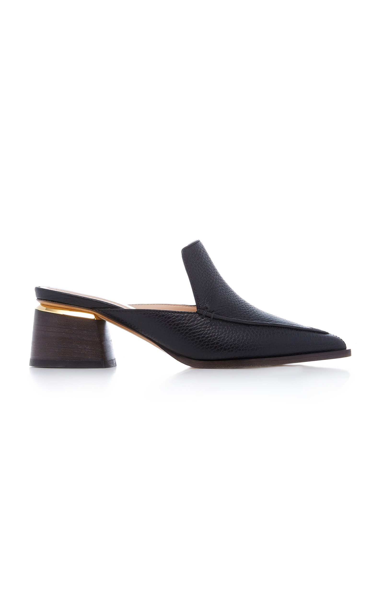 Beya Textured-Leather Mules in Black