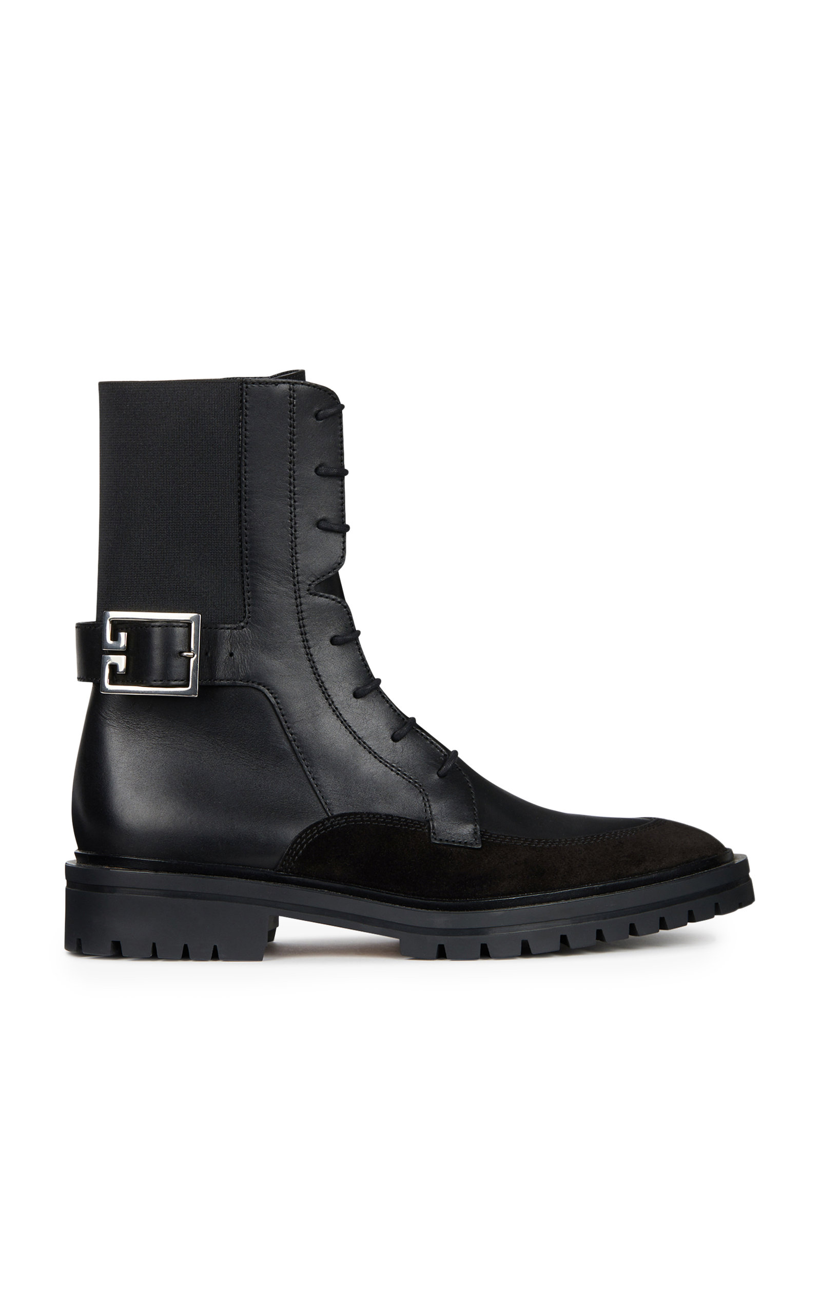 Givenchy Aviator Leather and Suede Lace-Up Boots zxb61D0x