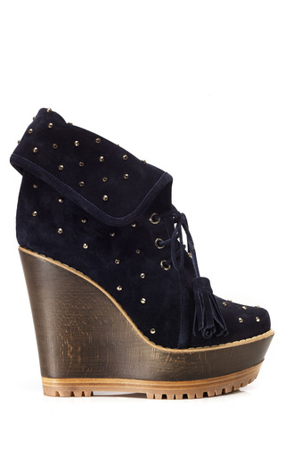 Medium mulberry blue studded wedge bootie