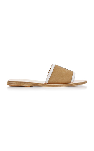 Ancient Greek Sandals Illia Cutout Patent-Leather And Suede Slides eroD8IMQN