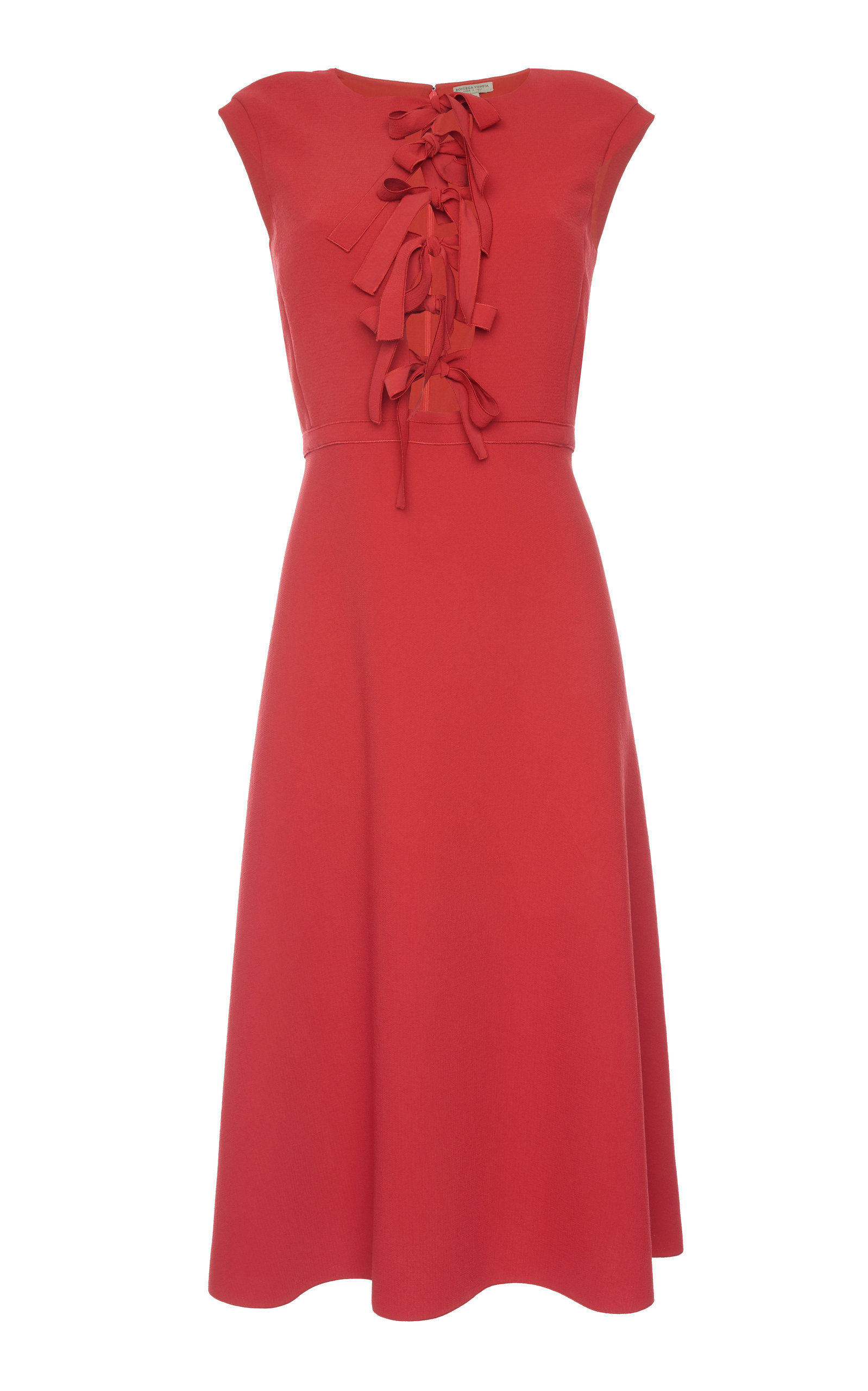 Bow-Front Sleeveless Tea-Length Fit-And-Flare Dress in Red