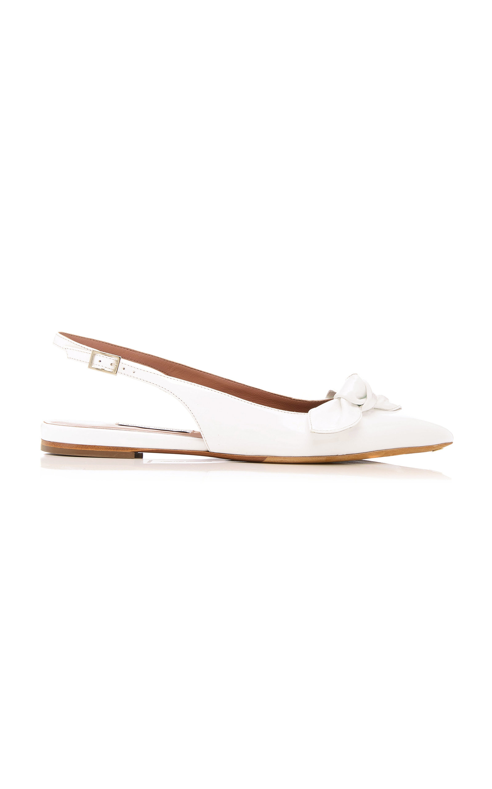 TABITHA SIMMONS Knotty Bow-Embellished Leather Flats in White
