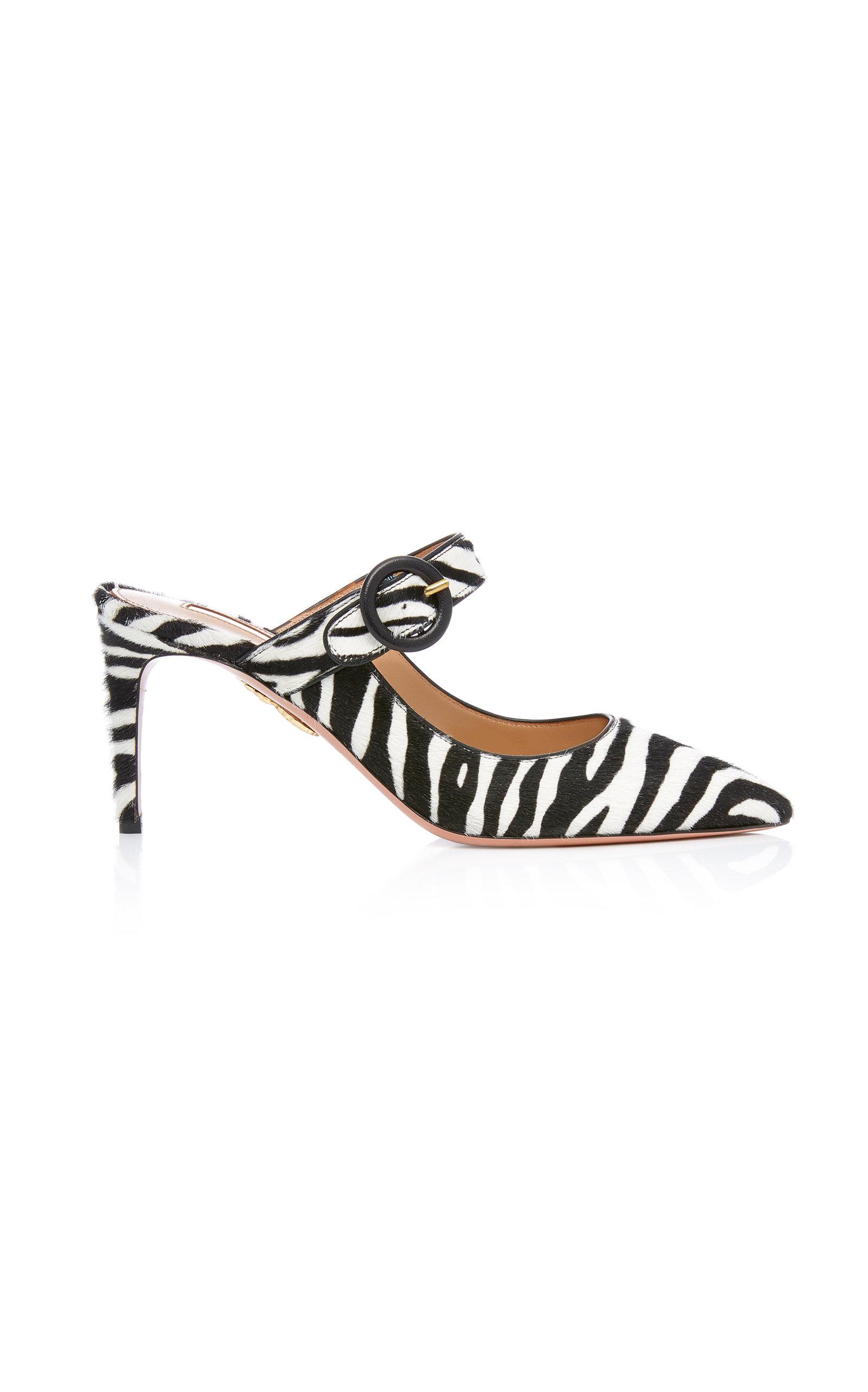 Blossom Zebra-Print Calf Hair Mules in Black
