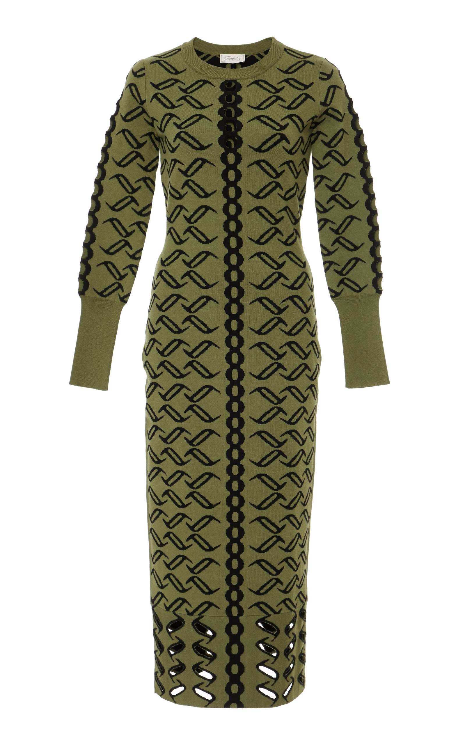 TEMPERLEY LONDON Desert Knit Dress in Green