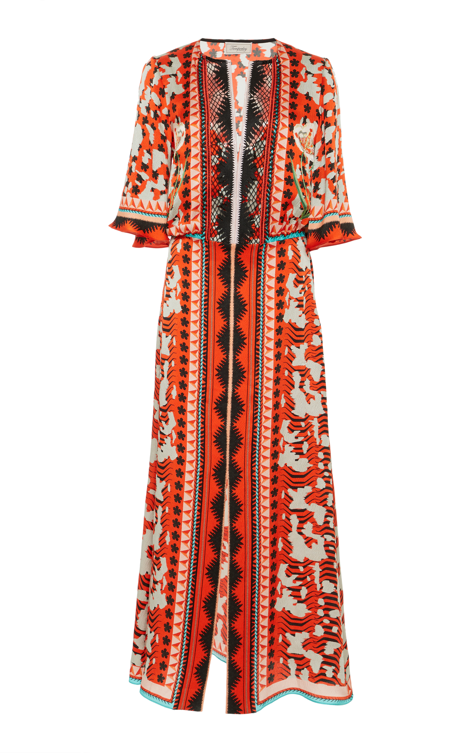 Odyssey Lace-Trimmed Printed Hammered-Silk Midi Dress, Red
