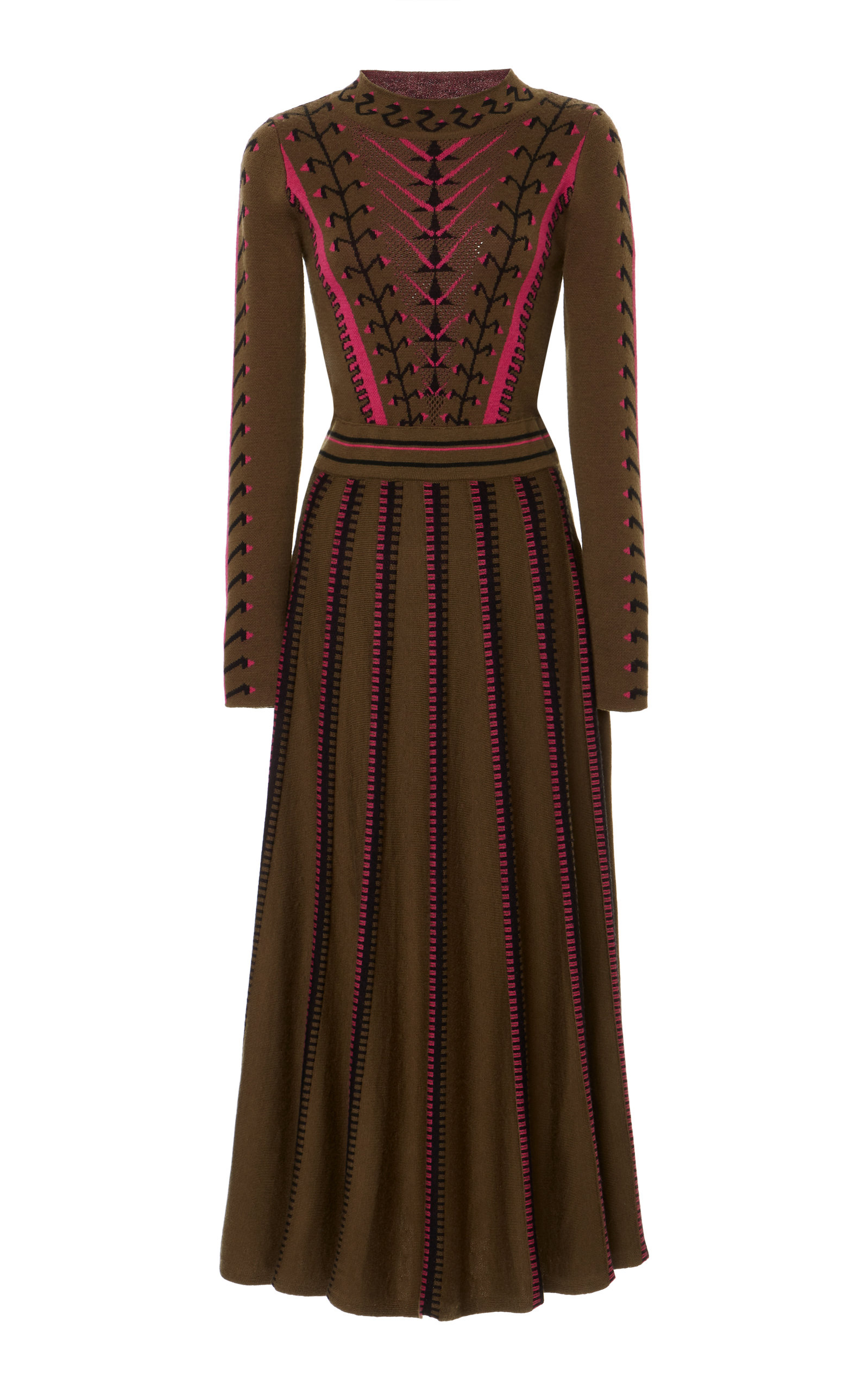 Ida Knit Flared Dress, Green
