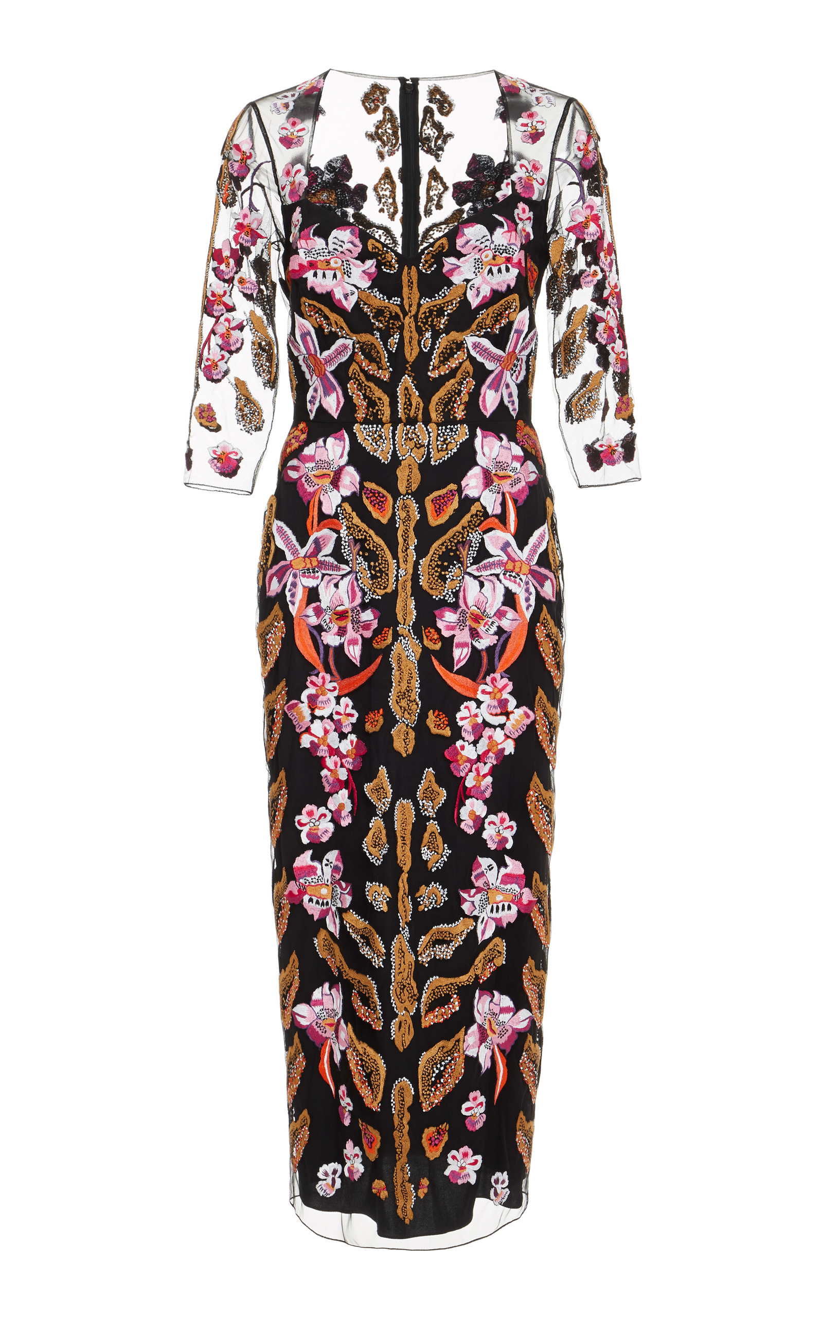TEMPERLEY LONDON Pardus Embroidered Tulle Dress in Black
