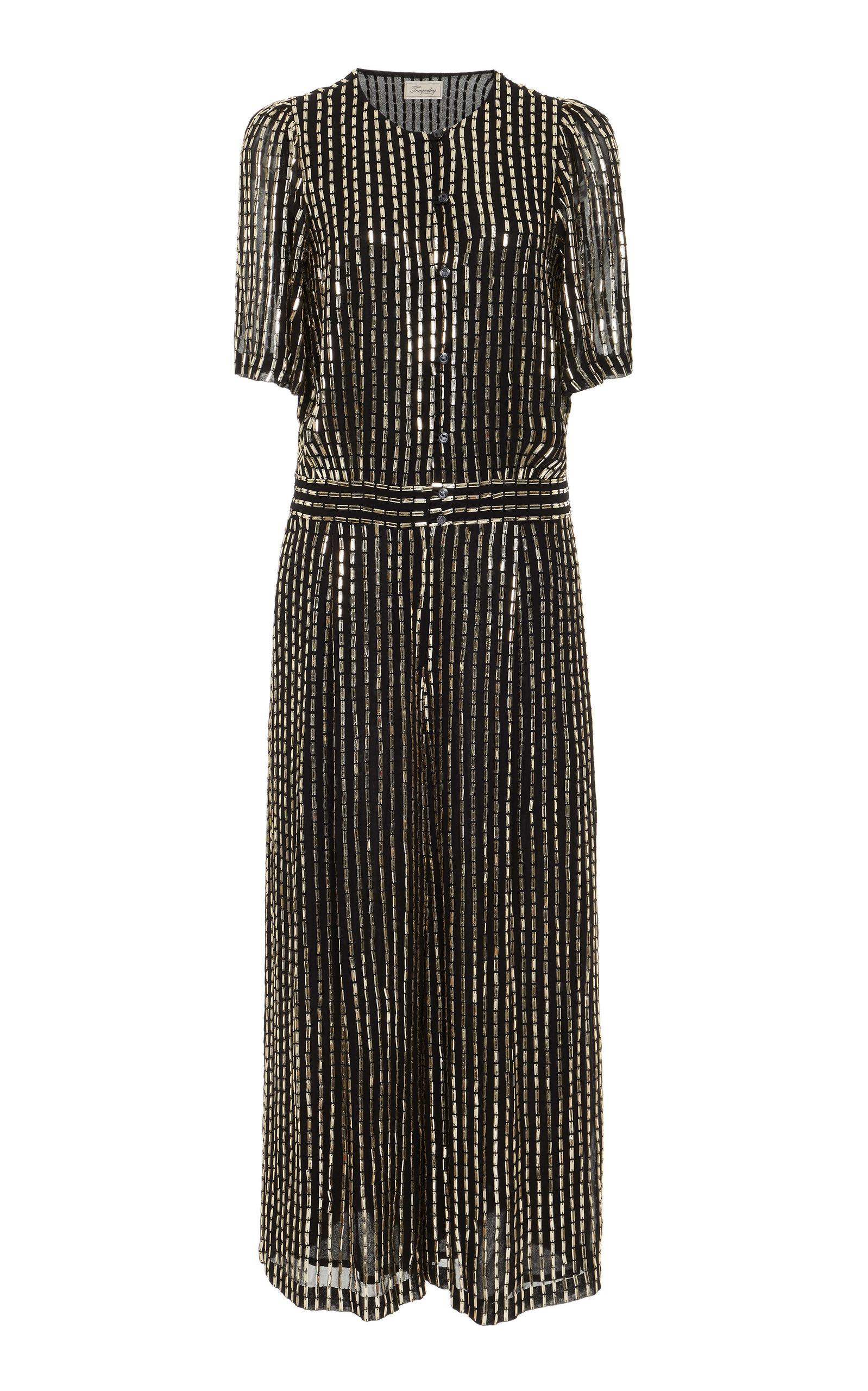 TEMPERLEY LONDON Silver Beaded Short Sleeve Dress in Black