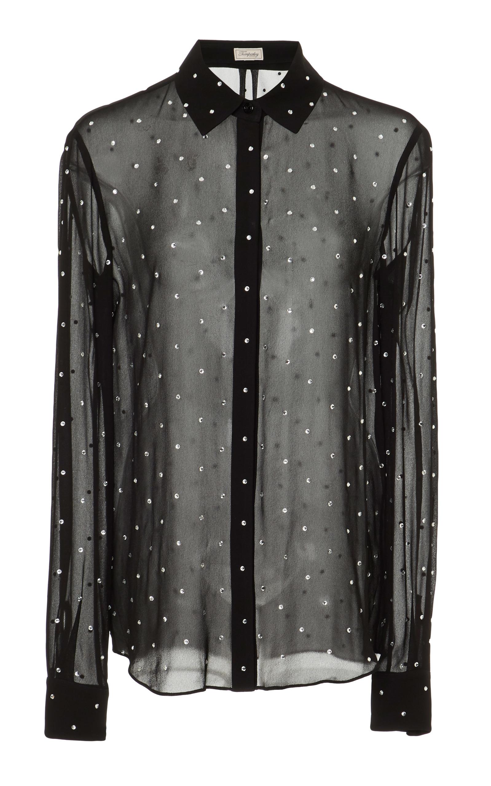 TEMPERLEY LONDON Twinkle Crystal-Embellished Georgette Blouse in Black