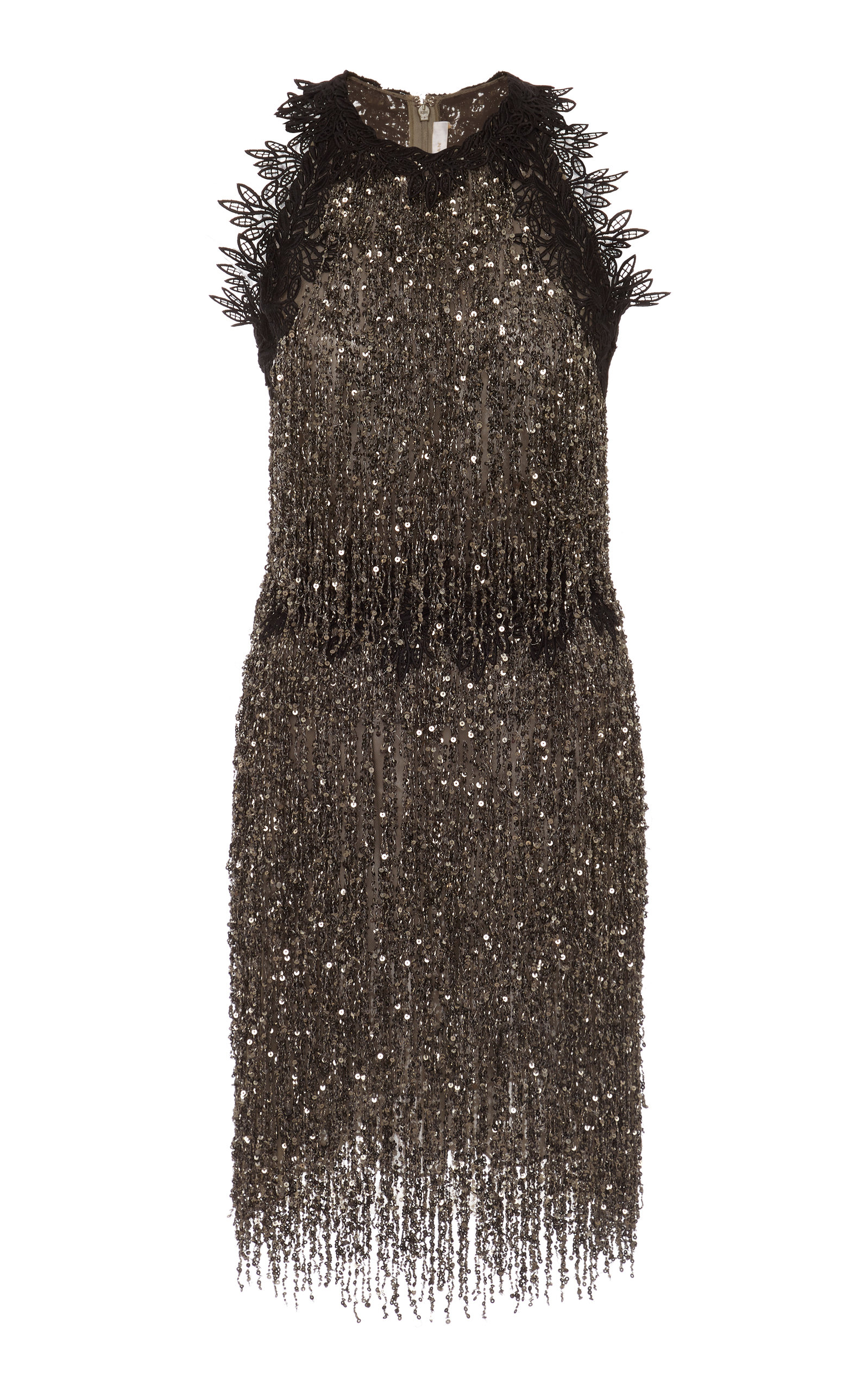 Beaded Fringed Tulle Mini Dress Naeem Khan Cheap Prices Reliable Clearance Classic Online Store Sale Wide Range Of Cheapest Cheap Price RfiJvKO