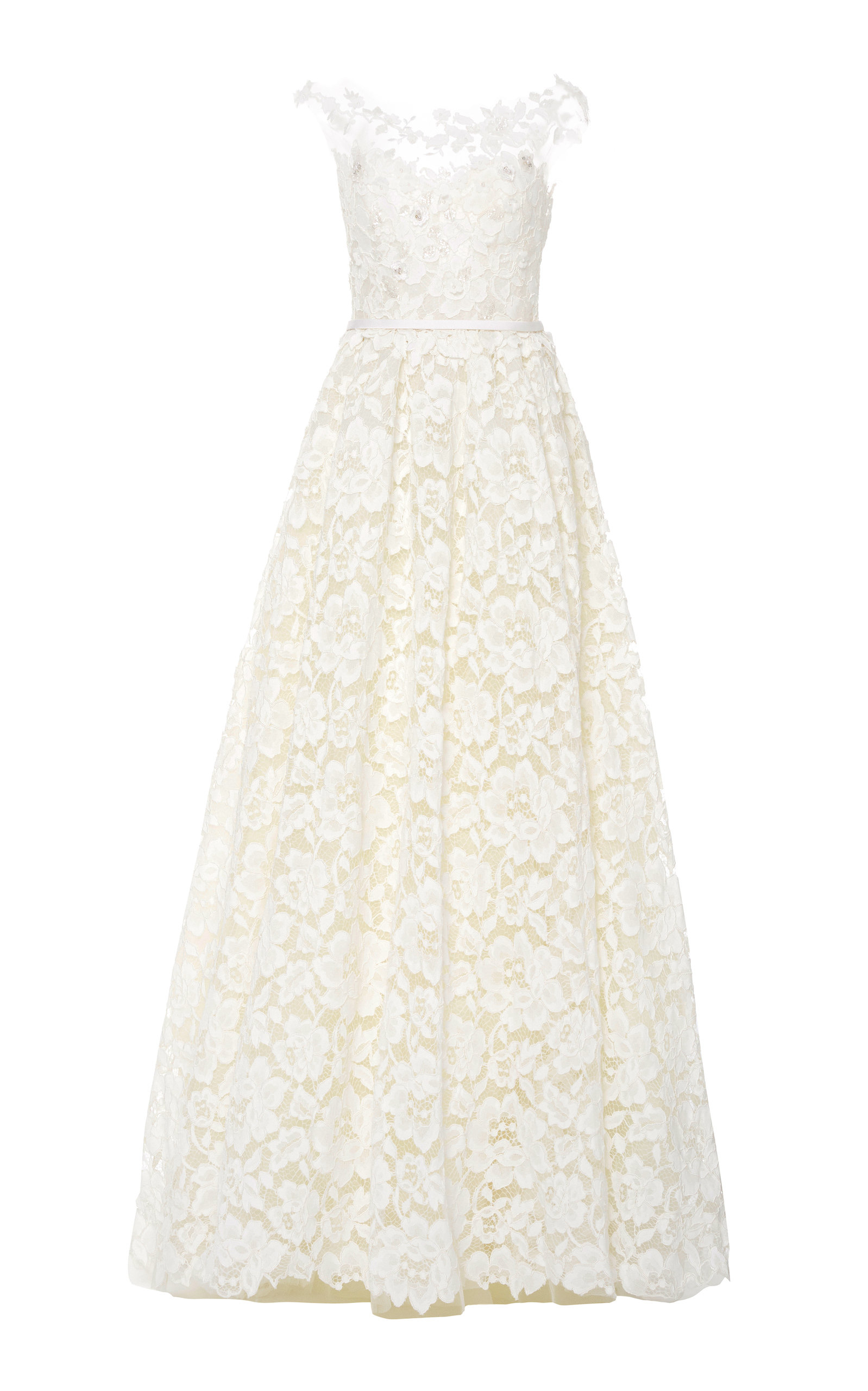 MIRA ZWILLINGER Emily Floral-Appliquéd Lace Gown in White