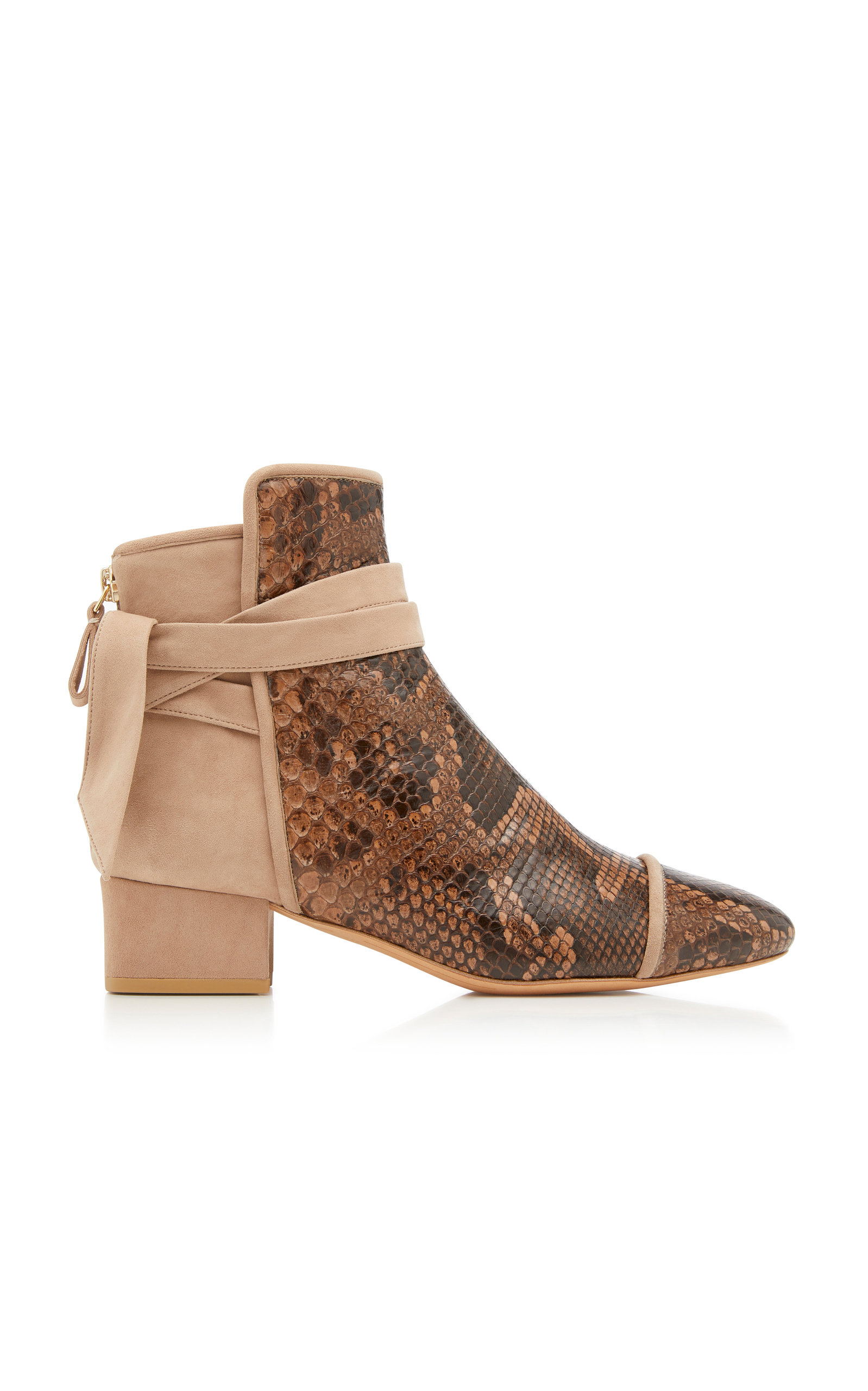 CATHRINE PYTHON AND SUEDE ANKLE BOOTS