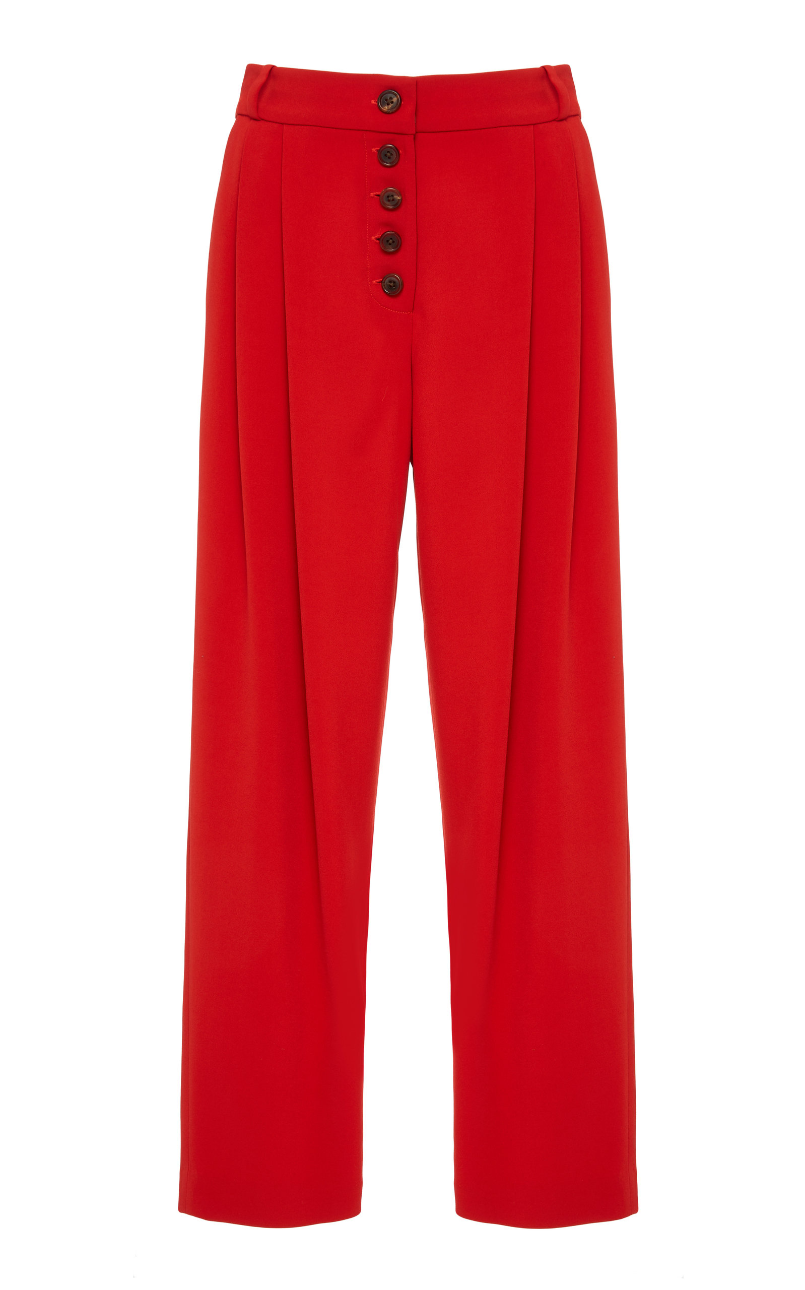 Russel High-Rise Pleated Tapered Pant in Red