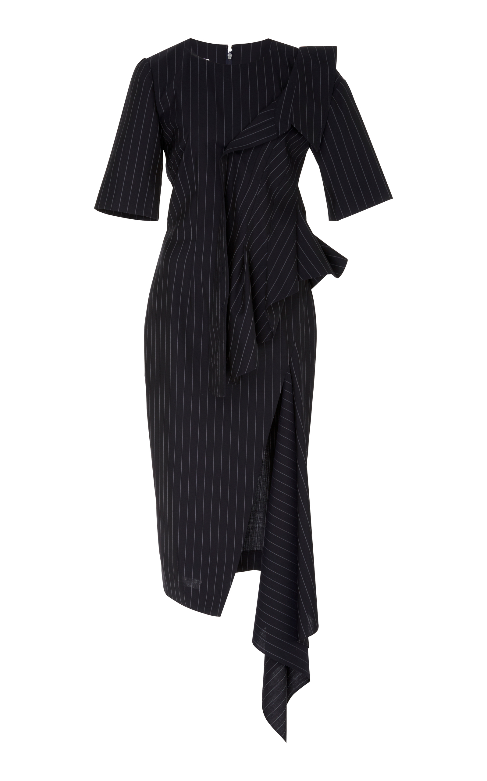 MONSE PINSTRIPE SLASH KNEE LENGTH DRESS