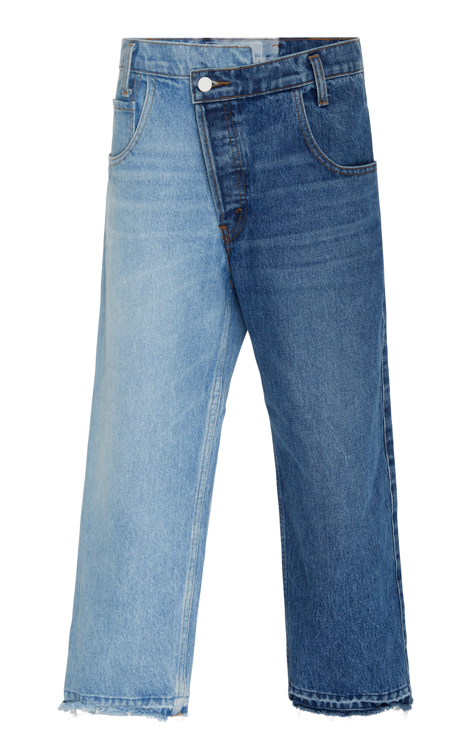 Split-Wash Mid-Rise Straight-Leg Cropped Jeans W/ Fray Hem in Blue