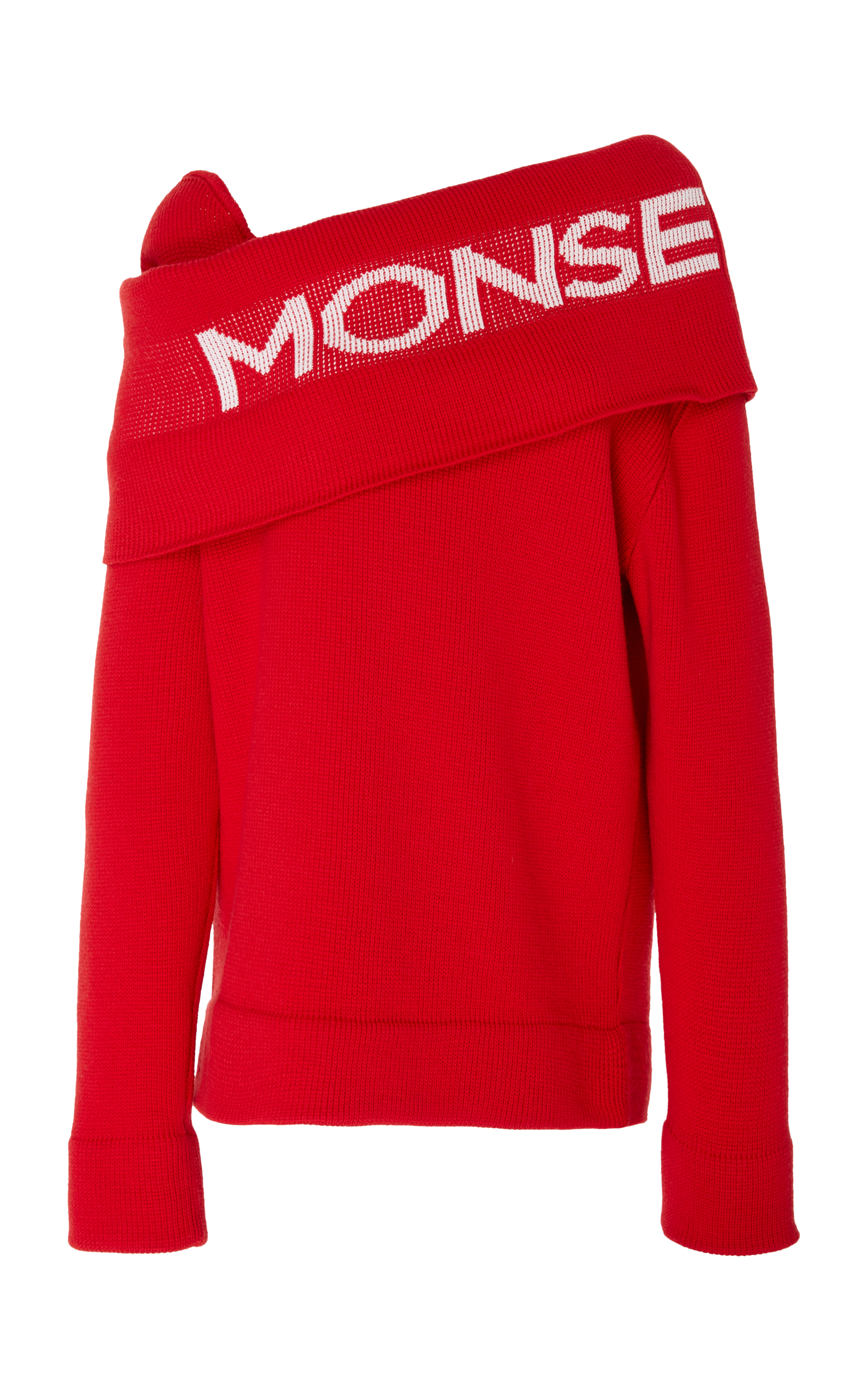 Knitted Sweater With Logo Intarsia Shawl Collar, Red