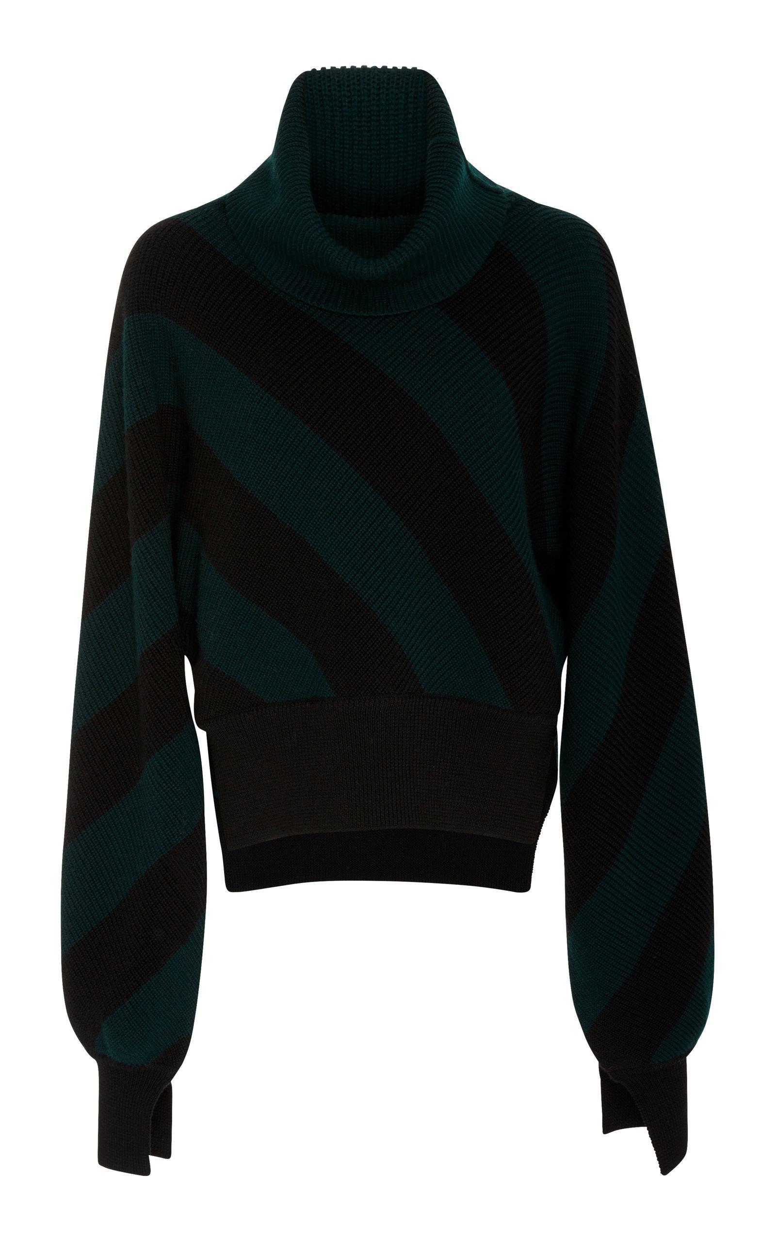 MONSE Diagonal Stripe Turtleneck Sweater in Green | ModeSens