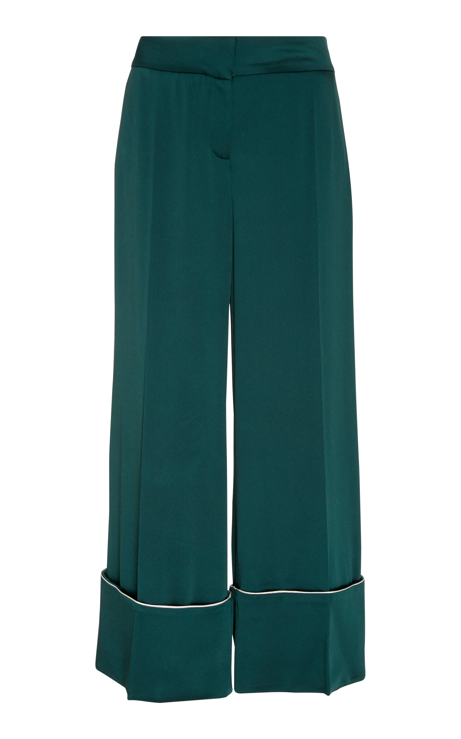 Cropped Hammered-Satin Wide-Leg Pants in Green