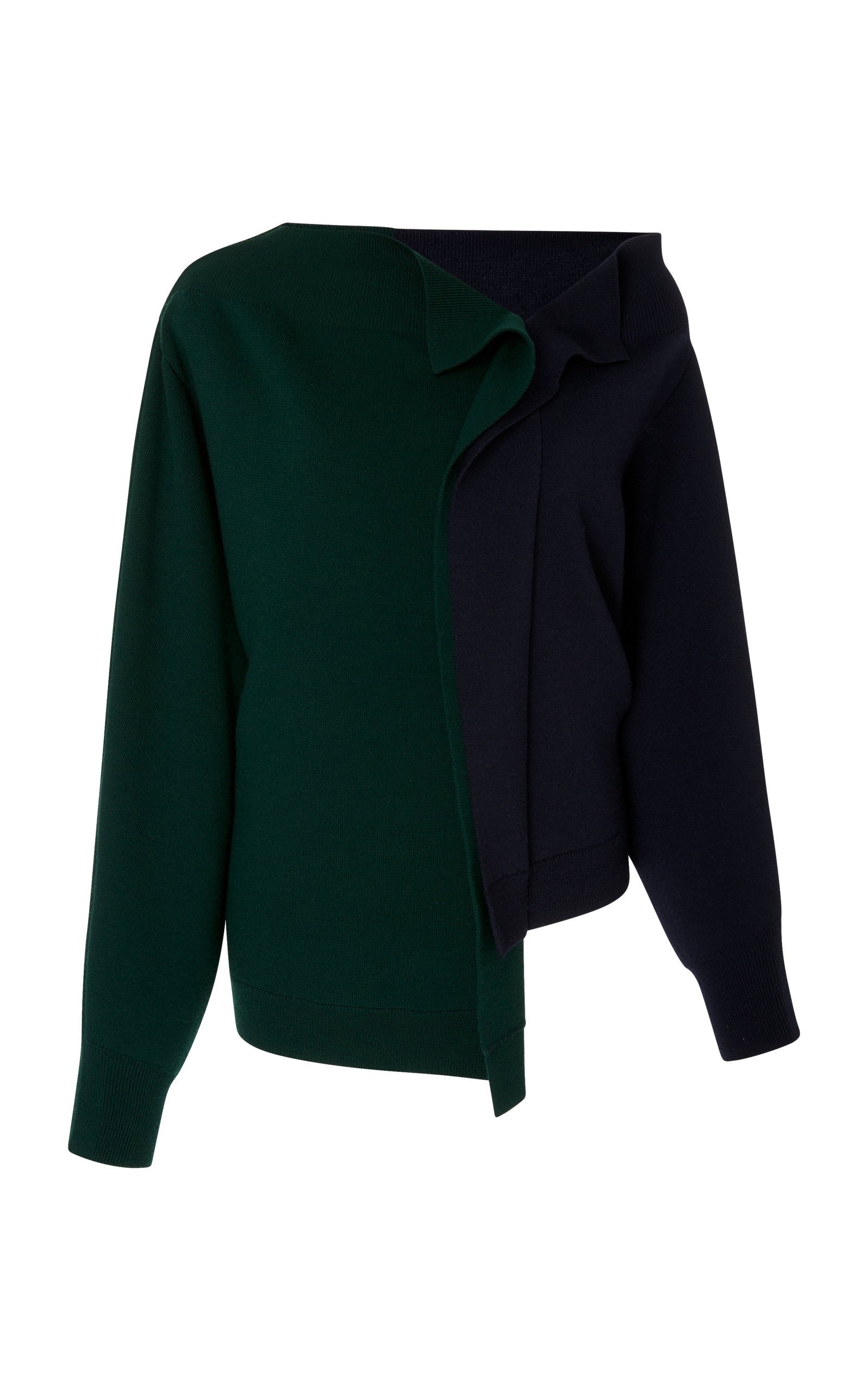 One-Shoulder Ruched-Back Colorblocked Sweater, Green