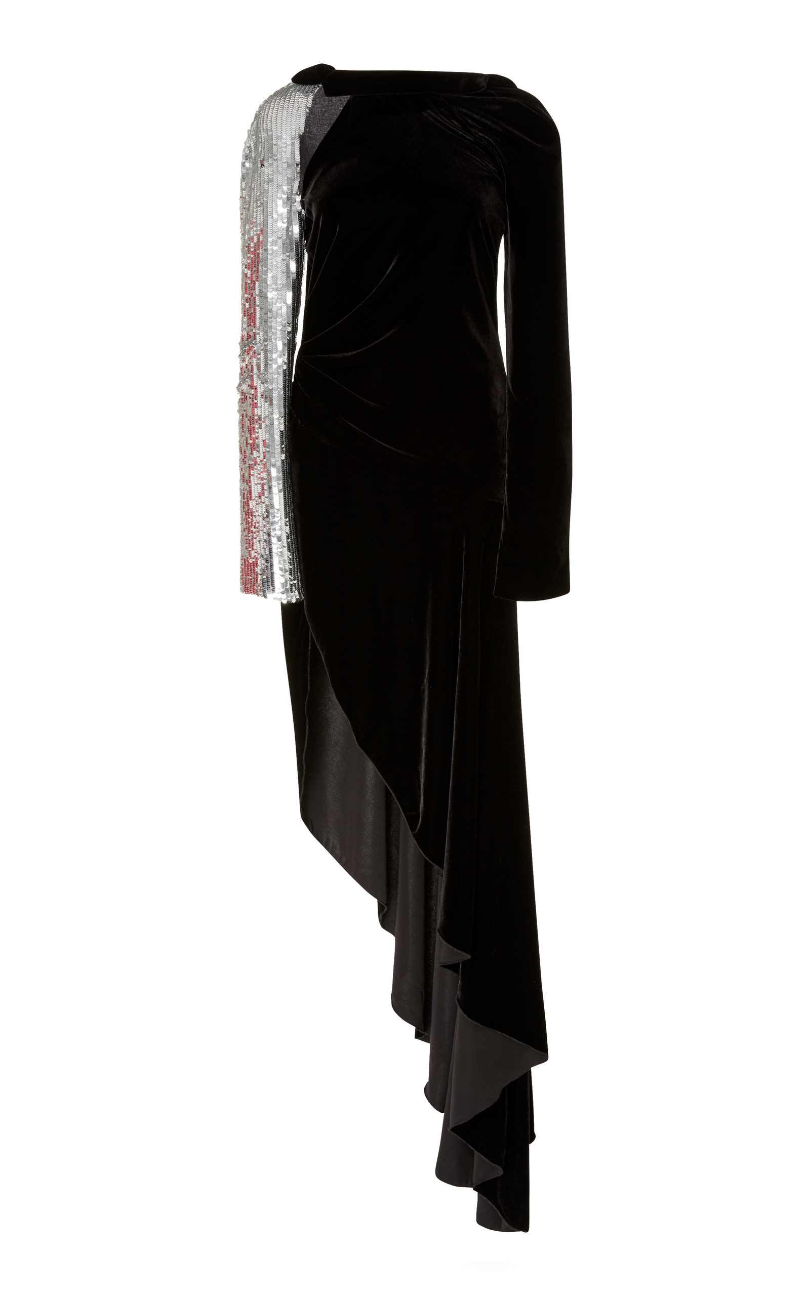 Asymmetric Sequin-Embellished Velvet Maxi Dress, Us6, Black
