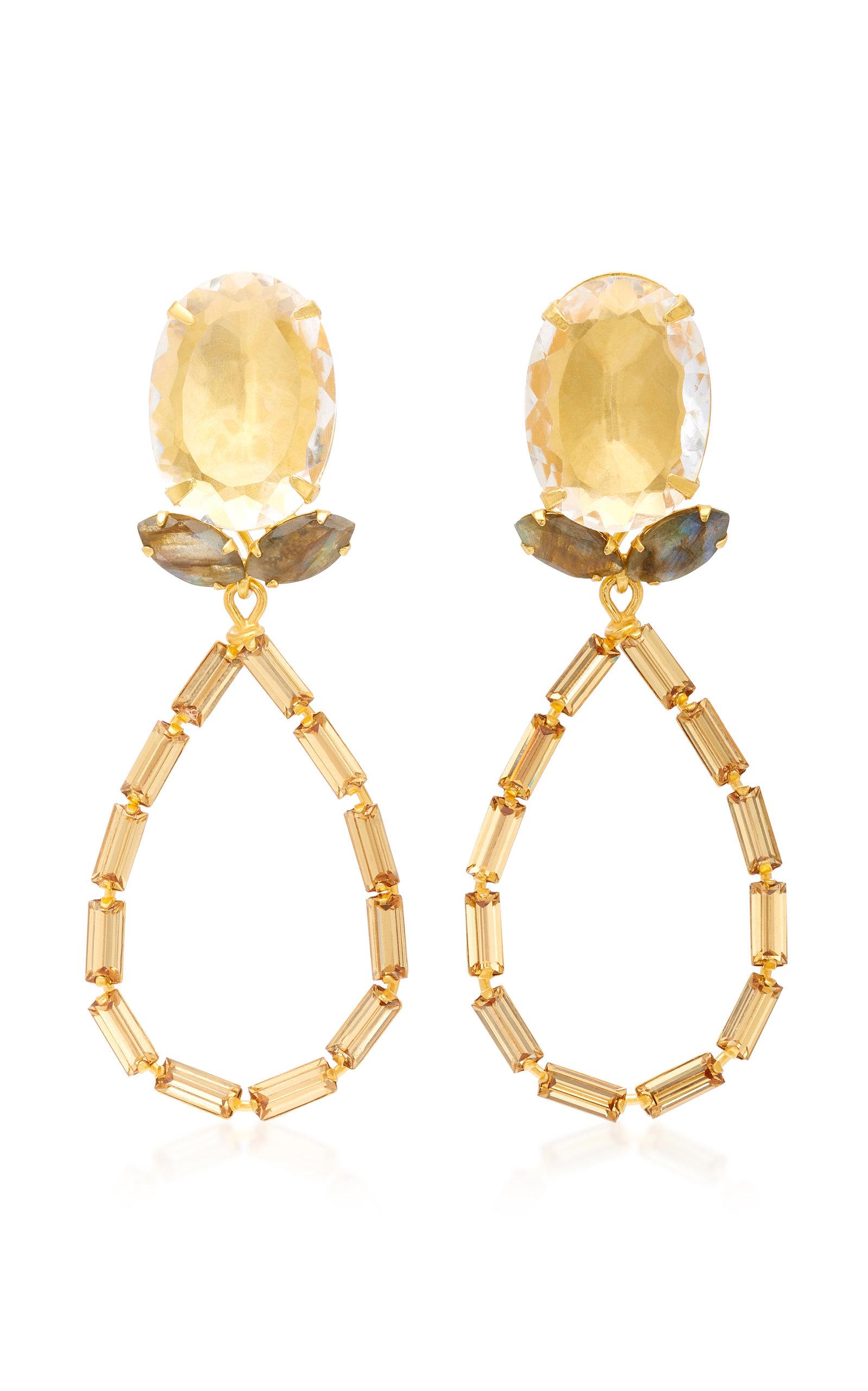 BOUNKIT QUARTZ LABRADORITE AND BAGUETTE TEARDROP 14K GOLD-PLATED BRASS EARRINGS