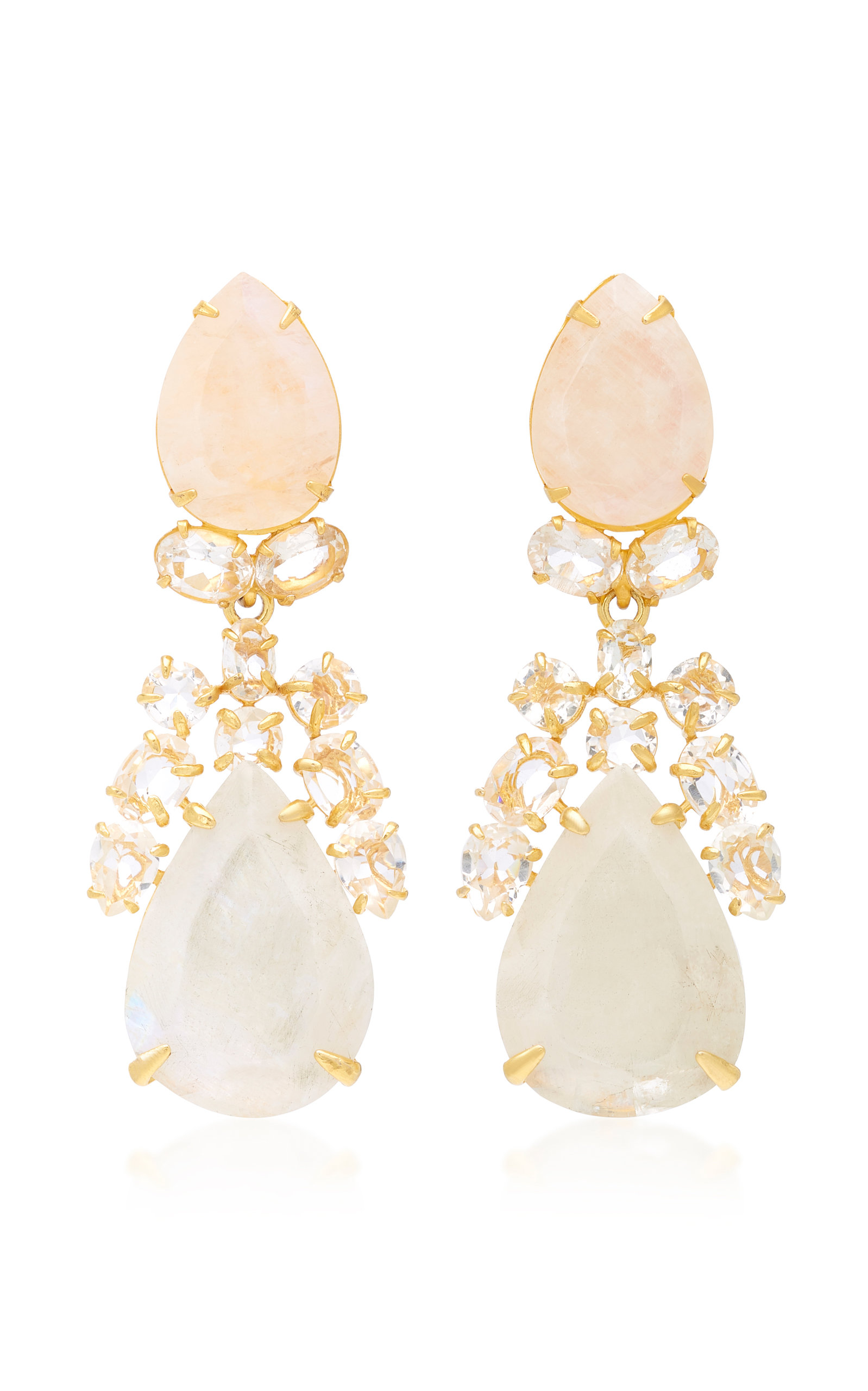 BOUNKIT MOONSTONE LAPIS AND CLEAR QUARTZ 14K GOLD-PLATED BRASS DROP EARRINGS