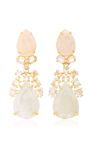 Quartz Labradorite and Baguette Teardrop 14K Gold-Plated Brass Earrings Bounkit qgBUODv