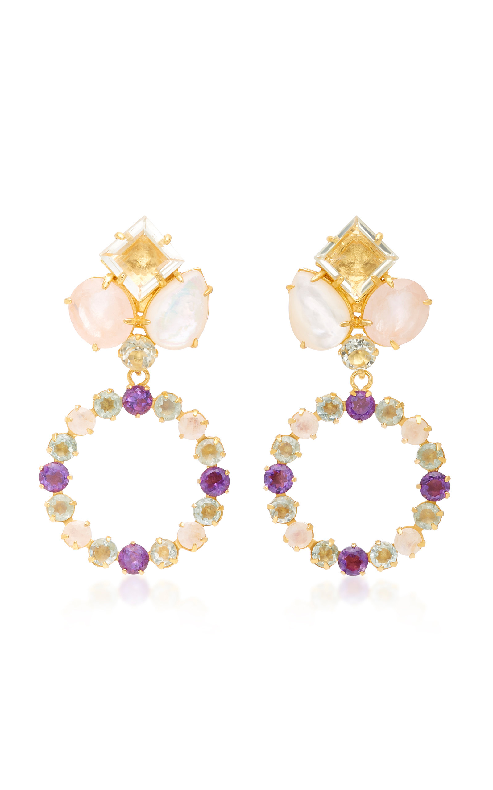 BOUNKIT AMETHYST MOTHER OF PEARL AND ROSE QUARTZ 14K GOLD-PLATED BRASS DROP EARRINGS