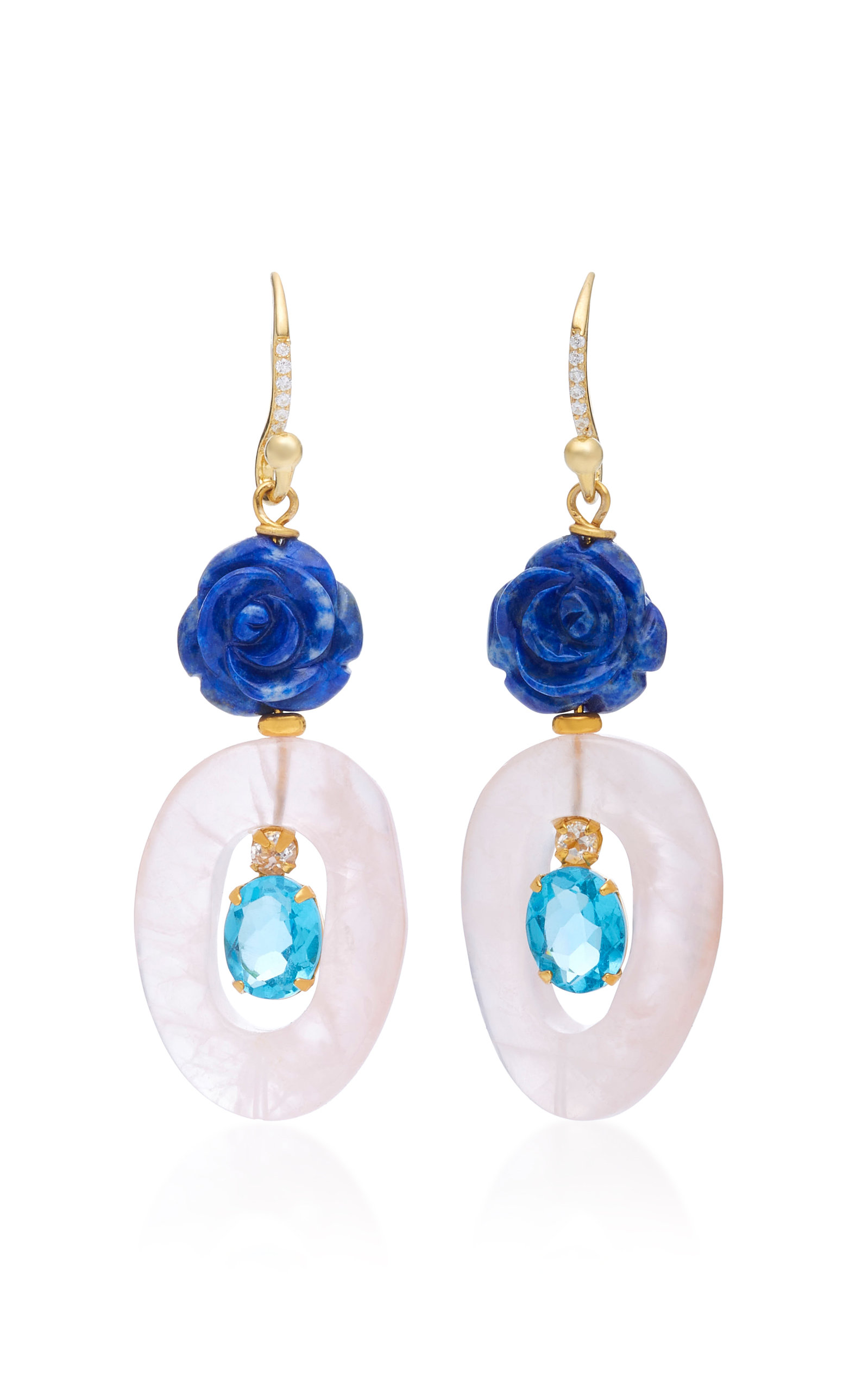 14K Gold-Plated Brass Carved Red Oyster Shell Lapis Blue Lace Agate Earrings Bounkit bDt2NF