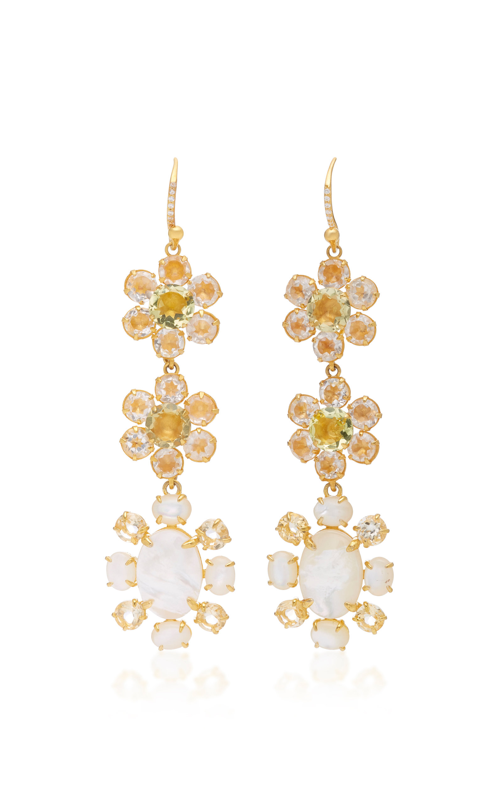 BOUNKIT PEARL AND QUARTZ 14K GOLD-PLATED BRASS FISH HOOK EARRINGS