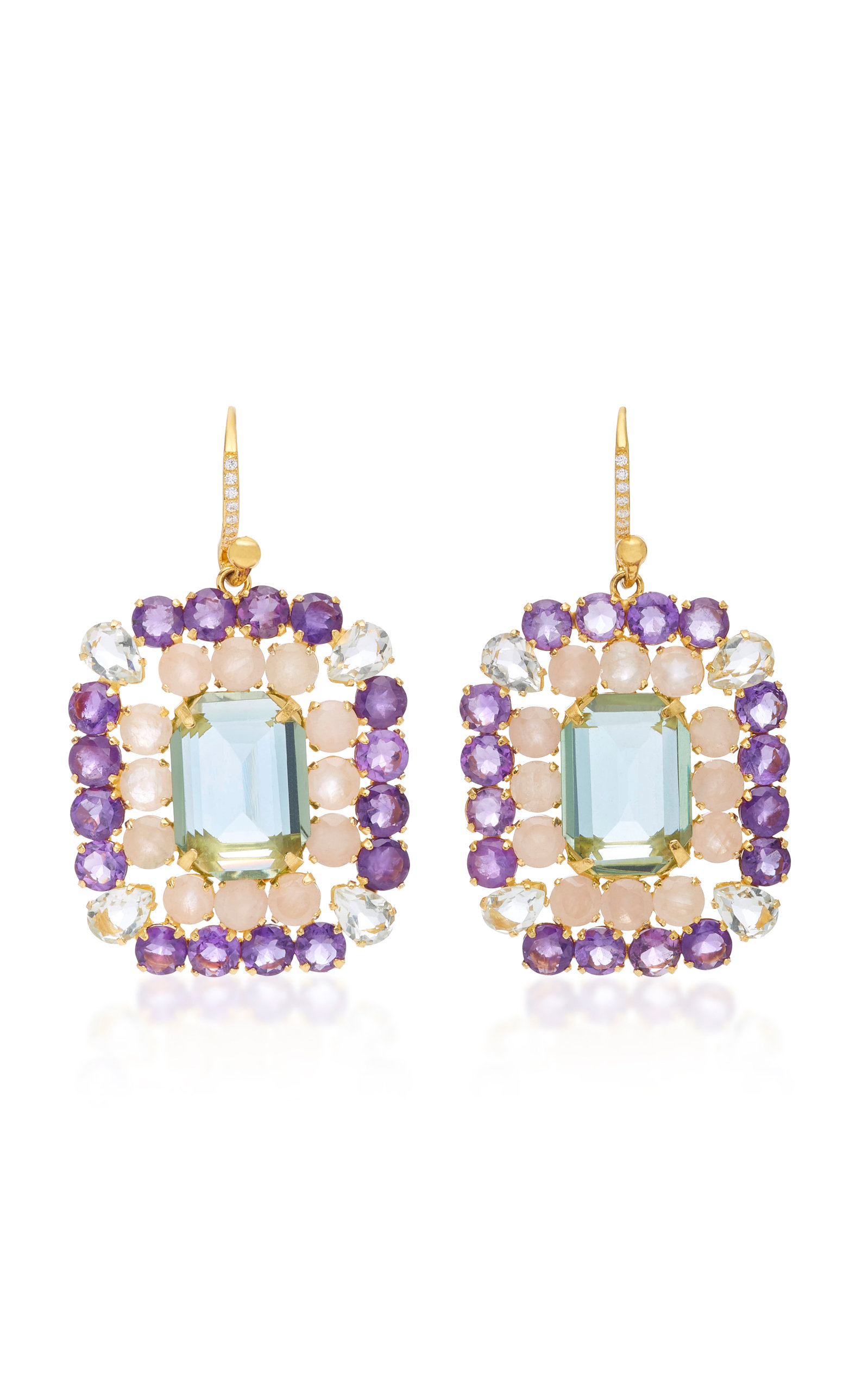BOUNKIT AMETHYST AND QUARTZ 14K GOLD-PLATED BRASS FISH HOOK EARRINGS